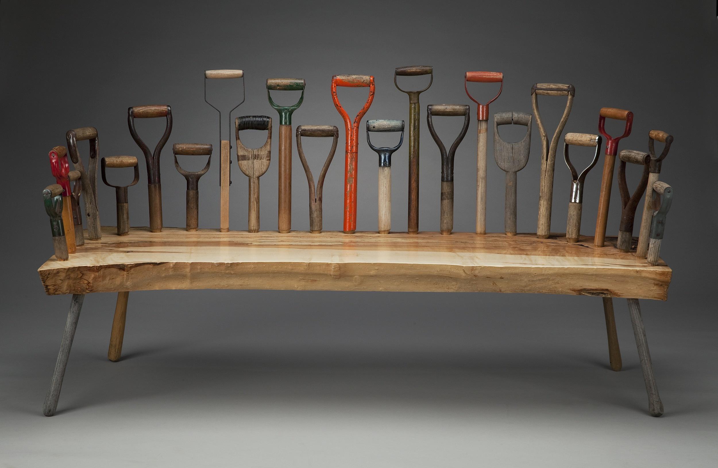 Dig 23    2015 I s  palted maple, shovel handles I 66  x 26.5 x 37