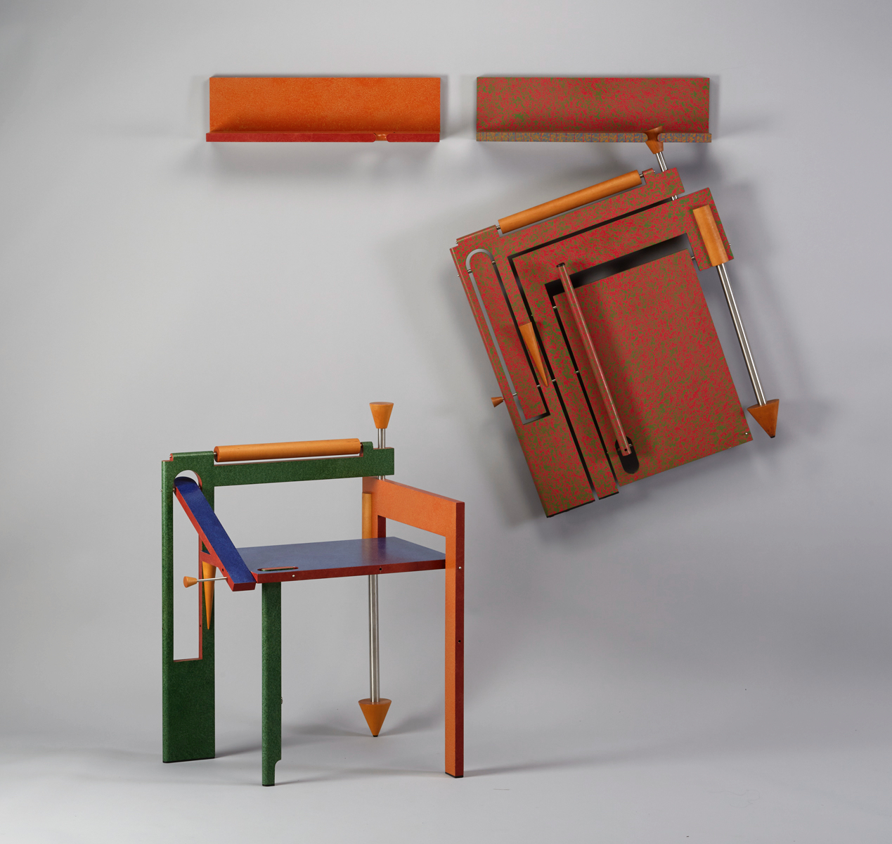Folding Chairs | 1989 I wood, stainless steel, paint I 34 x 25 x 22