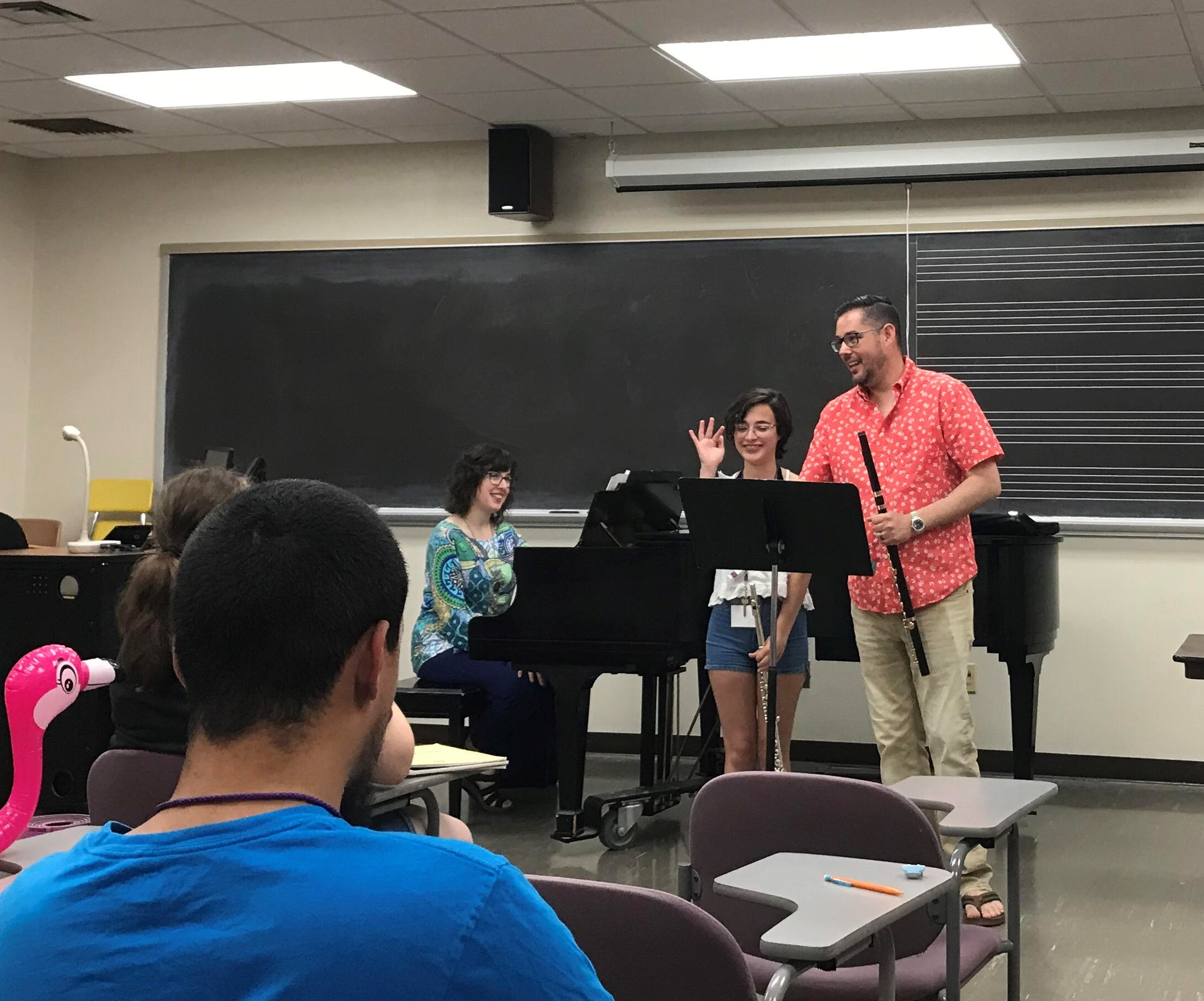 Teaching a masterclass at the 2019 University of Wisconsin-Whitewater Flute Camp.
