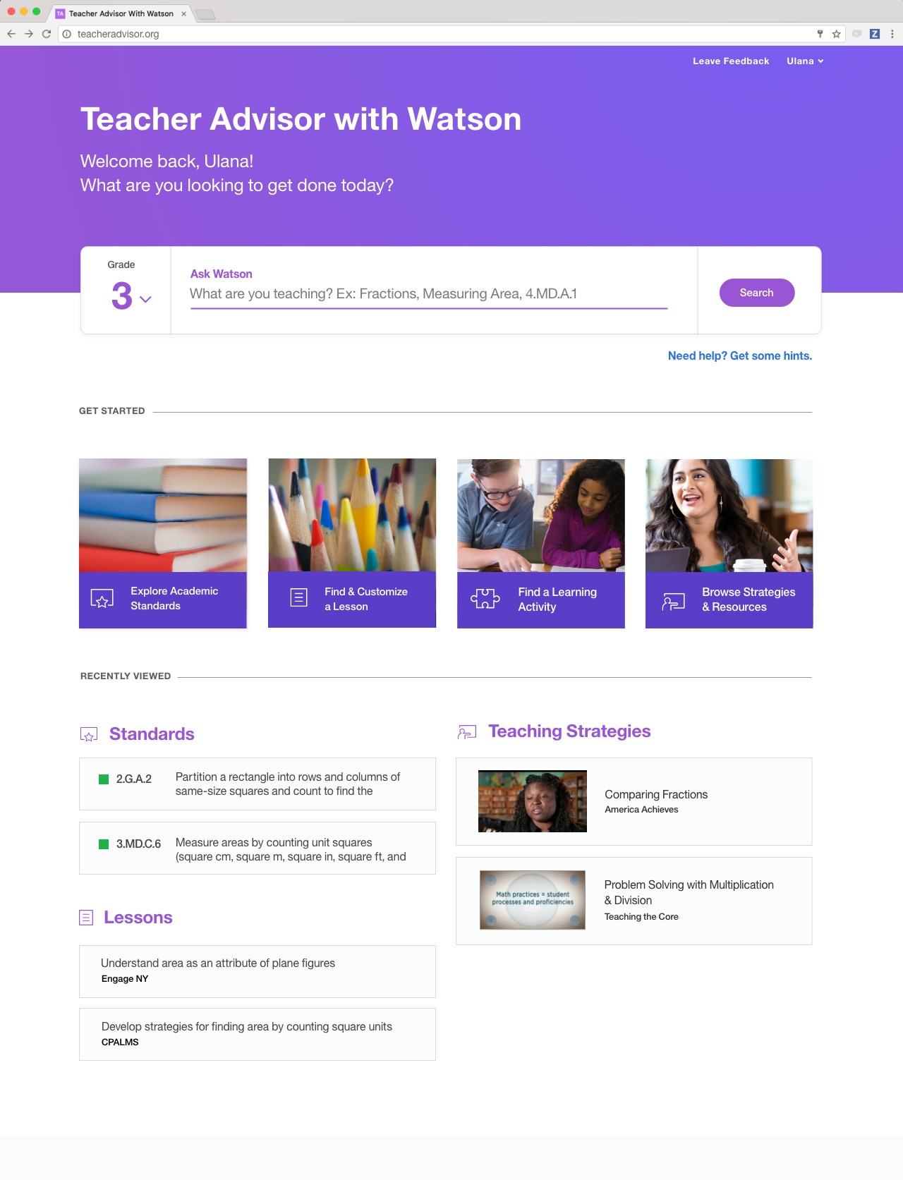 Personalized Content - Teacher Advisor is built with help from a coalition of current and former teachers. Everything in our tool is built to enable teachers to quickly access the materials they value in a convenient, prioritized and individually resonant way.
