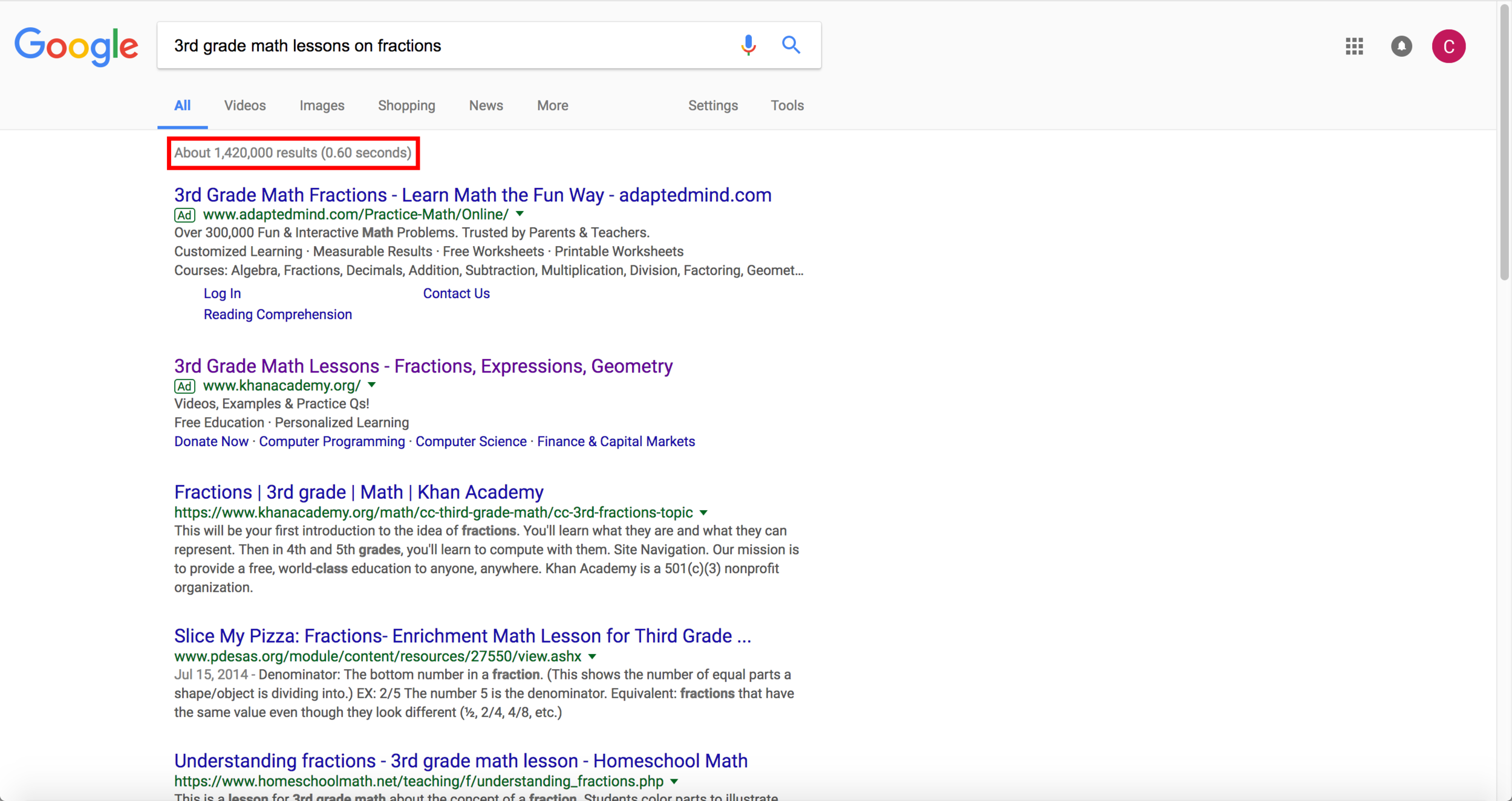"Searching ""3rd grade math lessons on fractions"" yields nearly 1.5 million results"