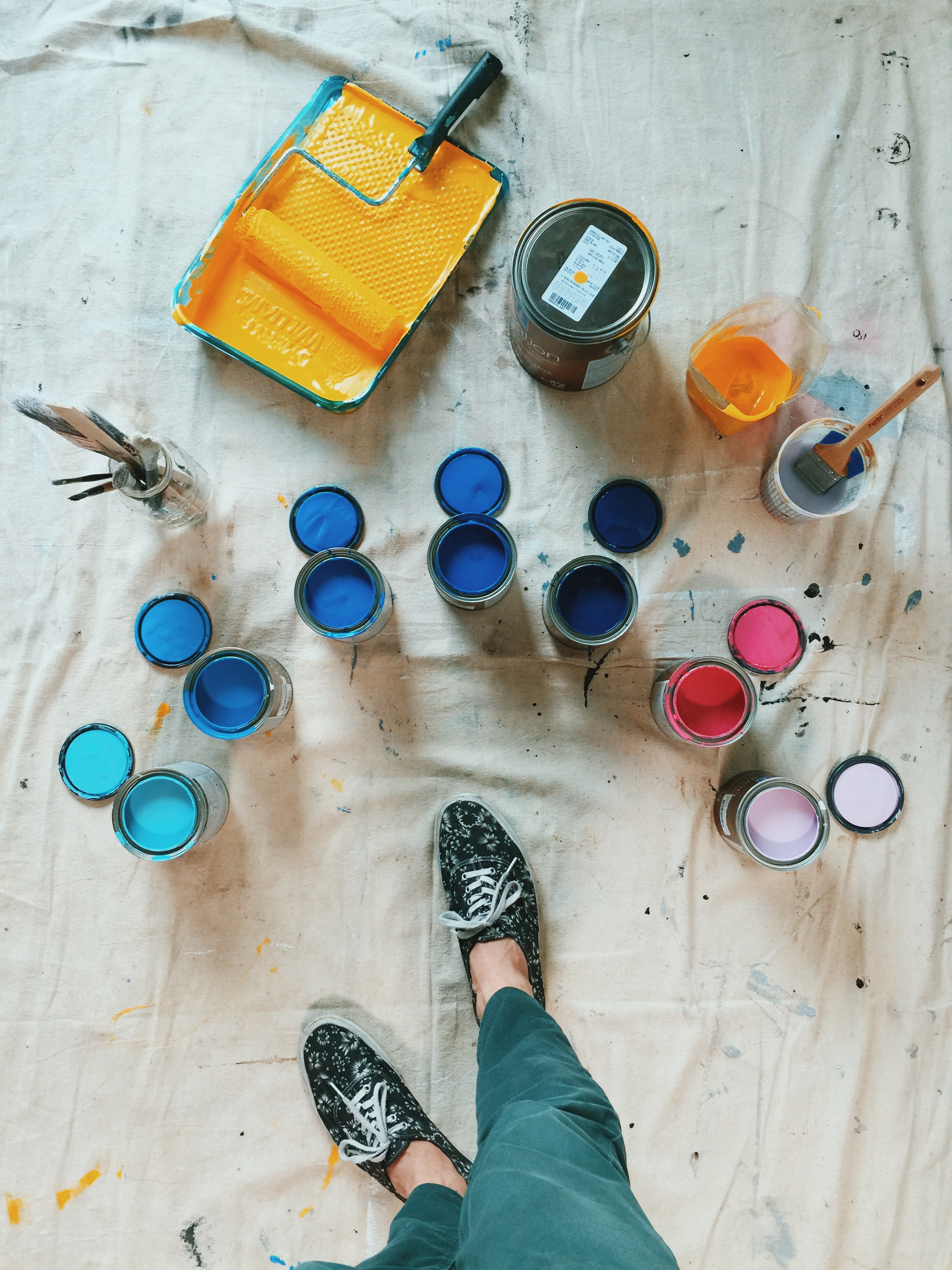Paint Palette at Foot Cardigan by Kyle Steed