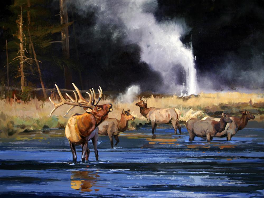 """Along The Firehole River"" 36 x 48 Oil"