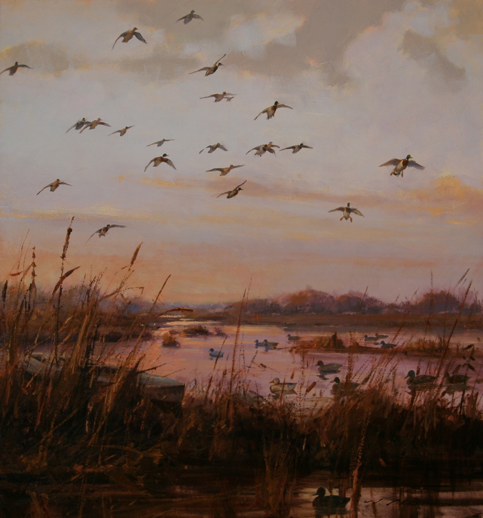 """Mallards at Dawn"" 30 x 28 Oil"