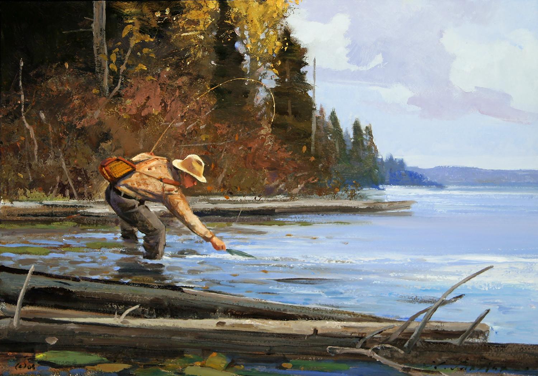 """""""Western Fly Fisherman"""" 14 x 20 Oil"""