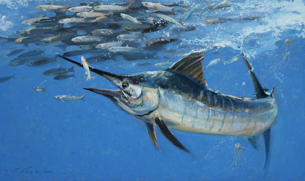 """Blue Marlin & Mullet"" 12 x 20 Oil"
