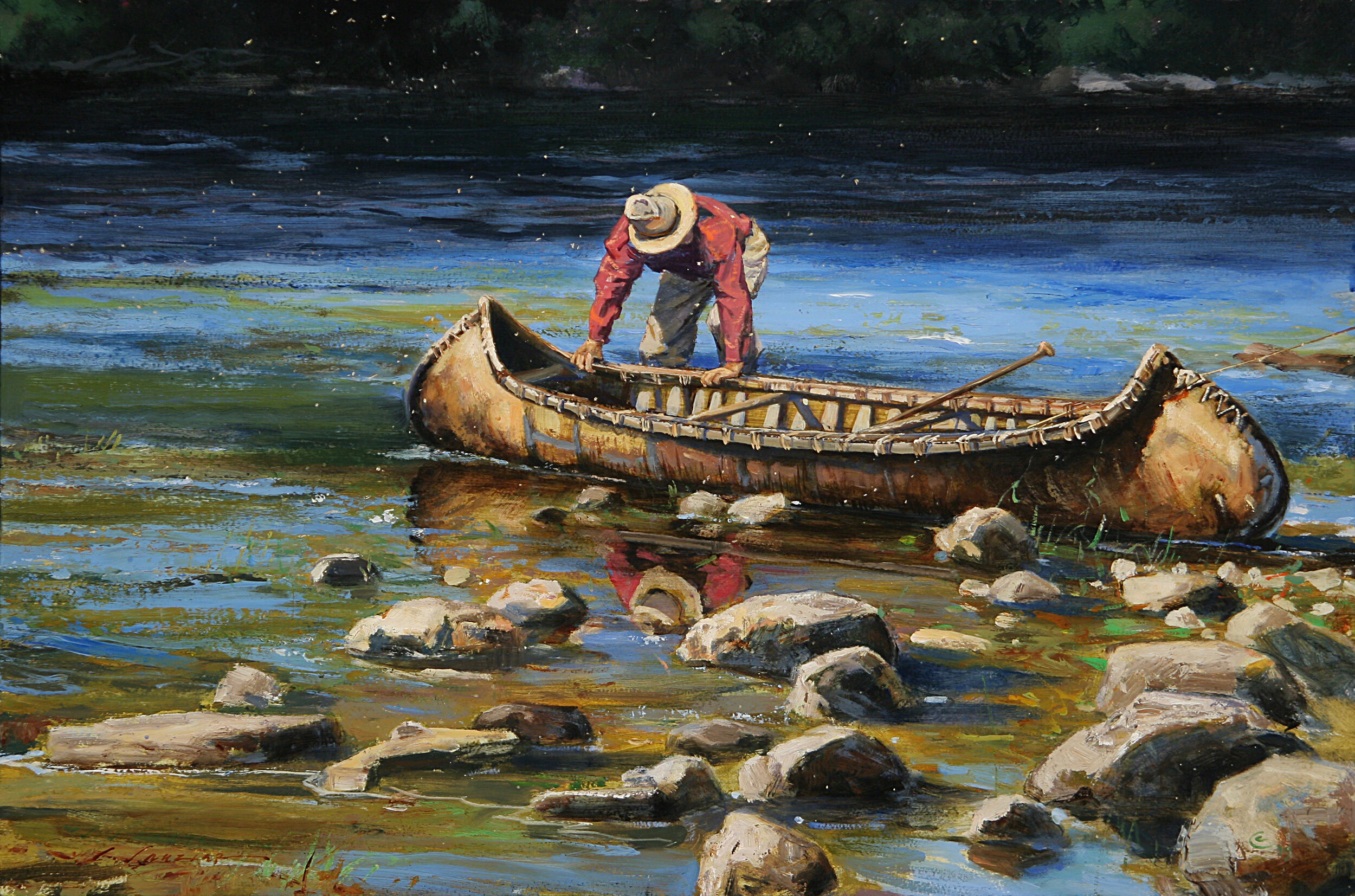 """A Dry Fly Day"" 16 x 24 Oil  I love the era when fly fishing and hunting was a way of life - early trappers and sportsmen used birch bark canoes for everything, these canoes were lightweight and durable and I find them beautiful in their craftsmanship and works of art in and of themselves."