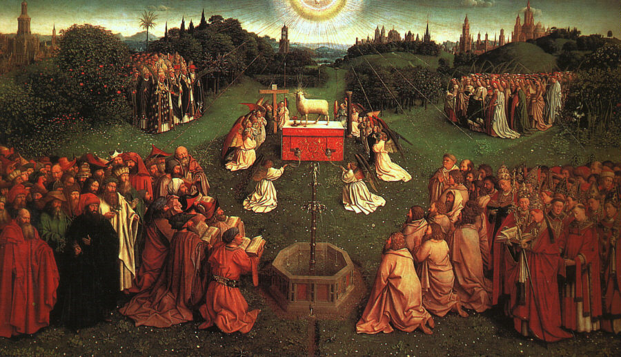 The Ghent Altarpiece , Adoration of the Mystic Lamb, by Jan van Eyck , early 15th century.