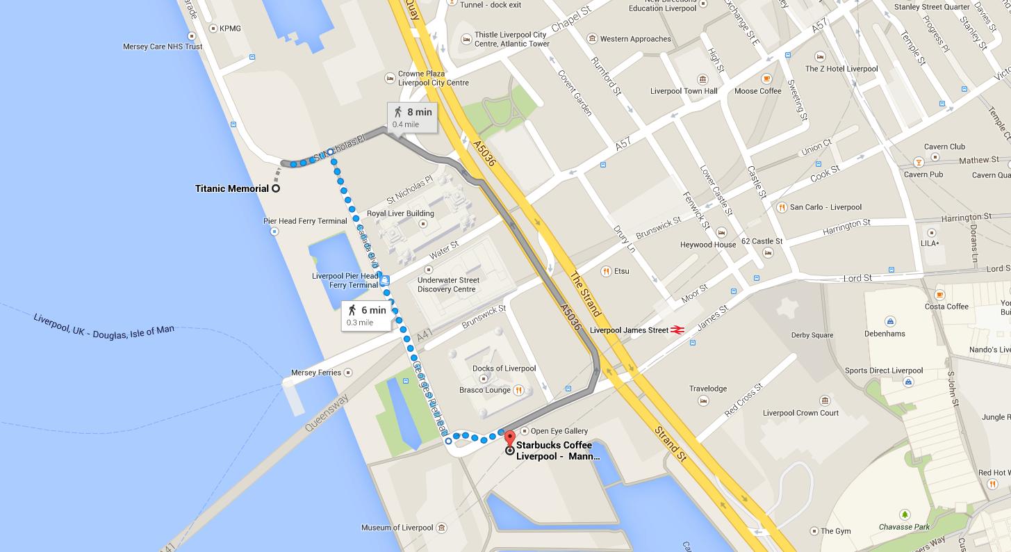 Locations of The Titanic Memorial, and Starbucks.