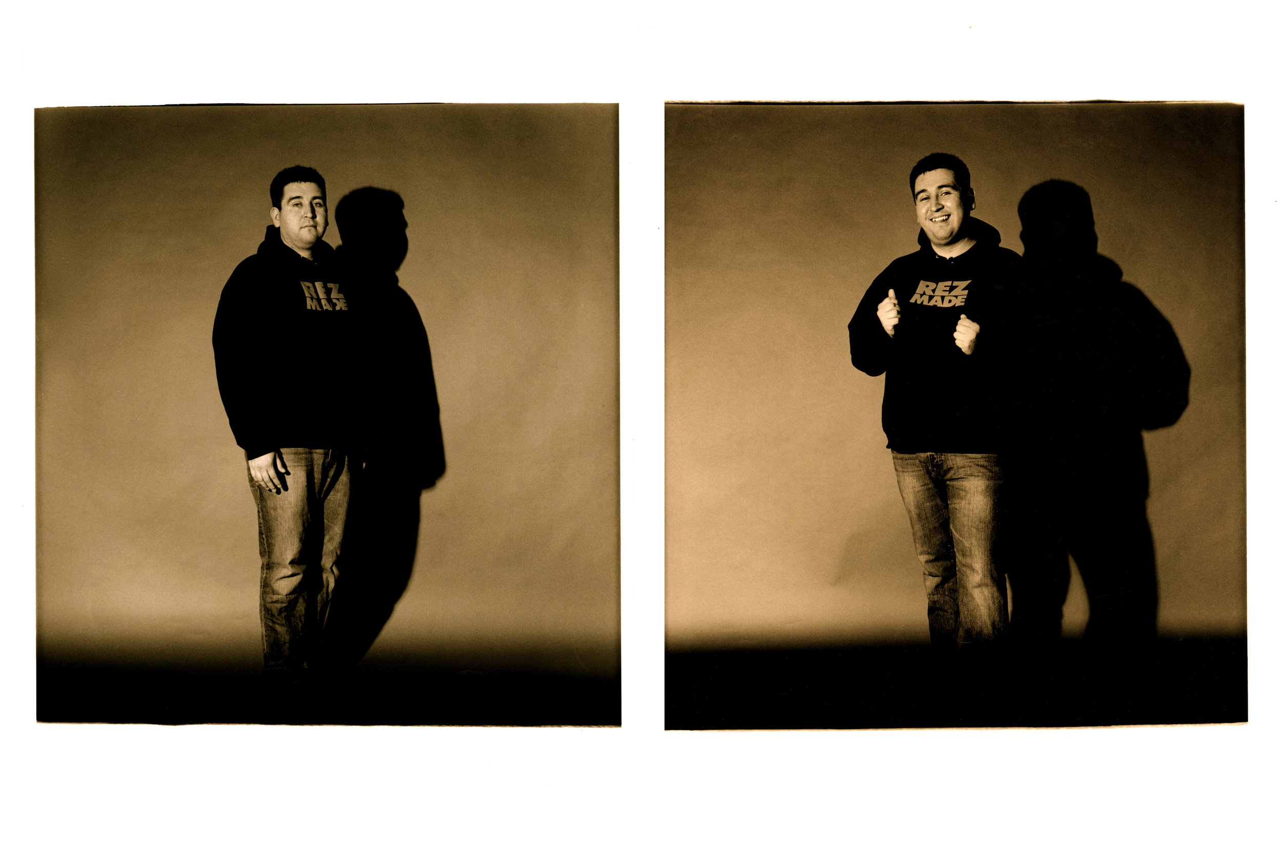 """Cody Challenging Curtis  , 2012. 35mm B&W film, 22"""" x 33"""" print. This is 1/3 diptychs from a series entitled, """"Challenging Curtis."""""""