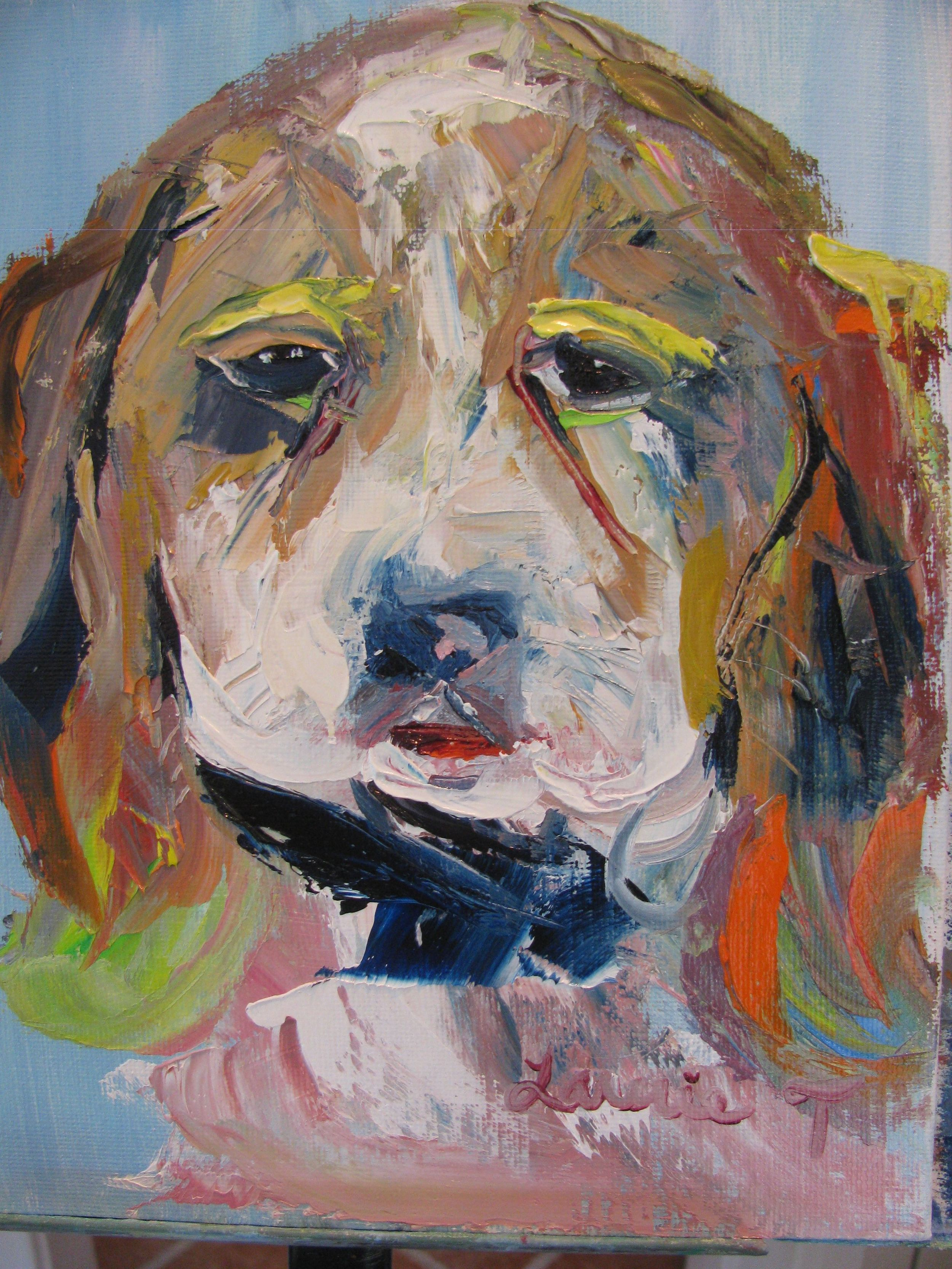 """""""Just framed my new portrait of Holly as a 3 month old puppy that was done by my friend Laurie Tuchel who does wonderful expressive pet portraits and I have hung it in my bedroom where I will see it each morning."""" - Lawrence, 2014"""