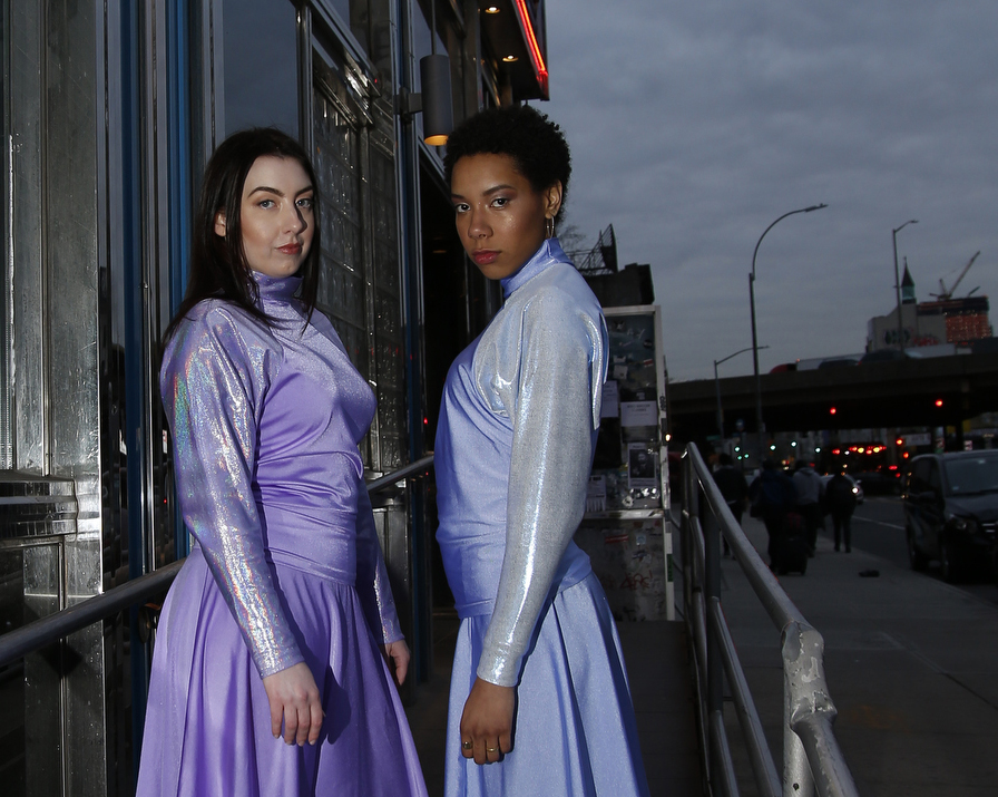 Outside the Kellogs Diner, Willimasburg New York at our recent photoshoot . Models are wearing the Startrek tops and skirts from our latest Startrek collection
