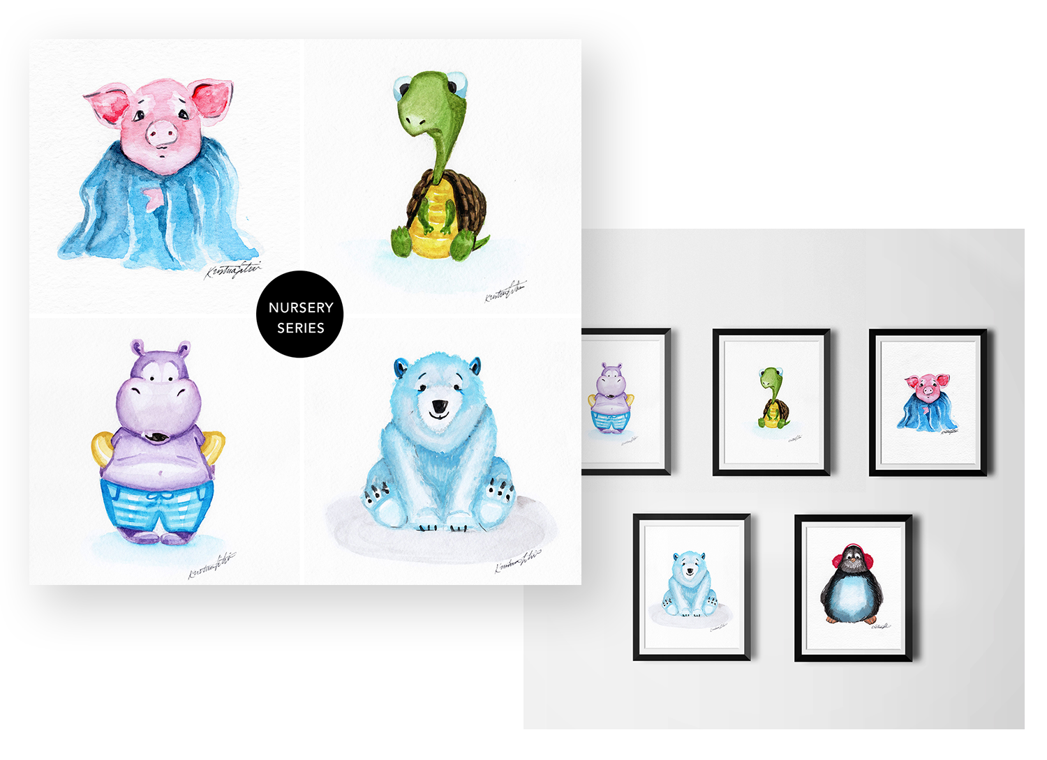 Animals - Whimsical characters each full of their own personality come to life in these one of a kind illustrations.