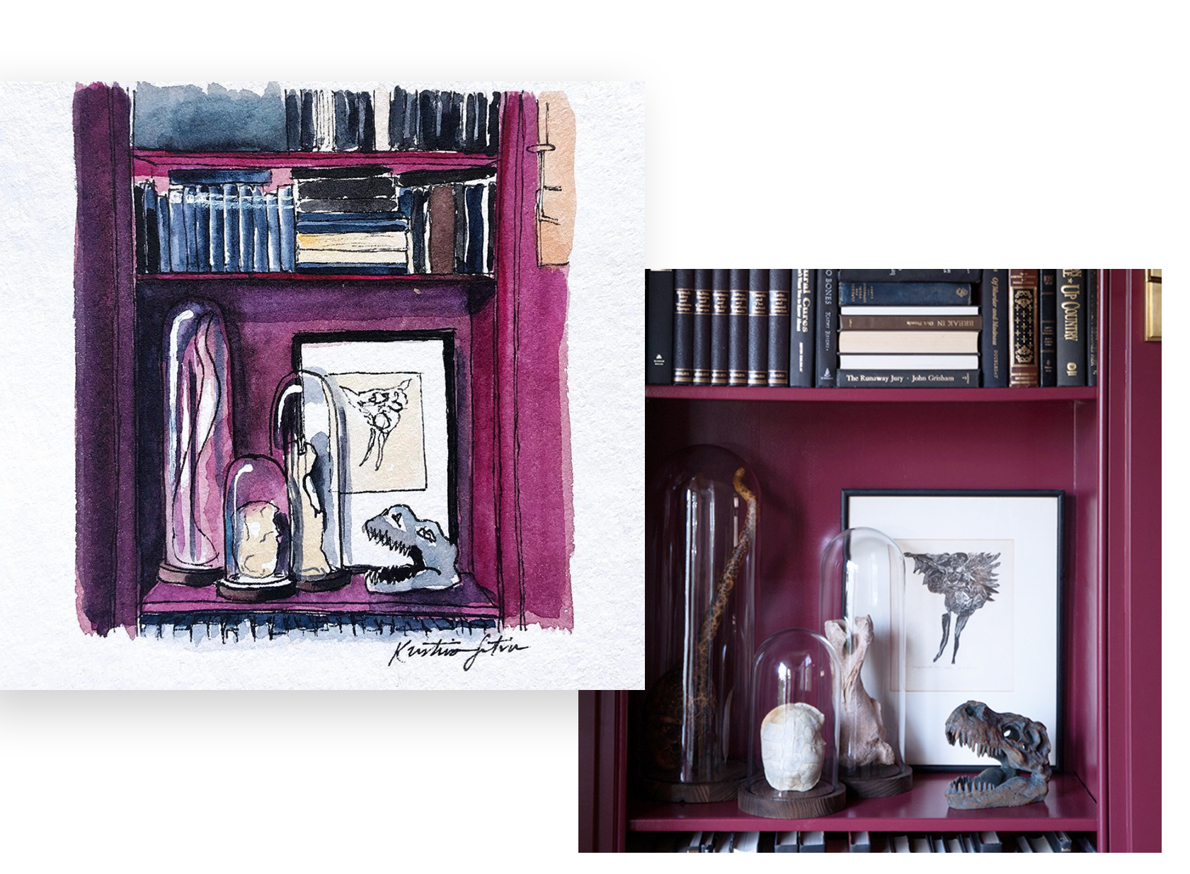 Halloween Curiosities - INTERIORS | STYLINGA bold bookshelf gets an impressively stylish yet understated halloween makeover in this library nook, illustrated for Gwen Hefner of @TheMakerista.