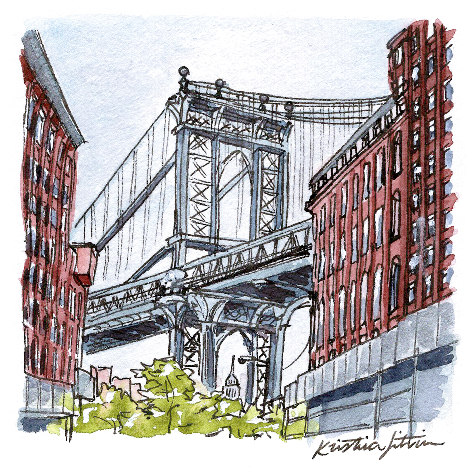 Where there are giants between the bricks. - TRAVEL | DUMBO, BROOKLYN.A scenic view of the Manhattan bridge.
