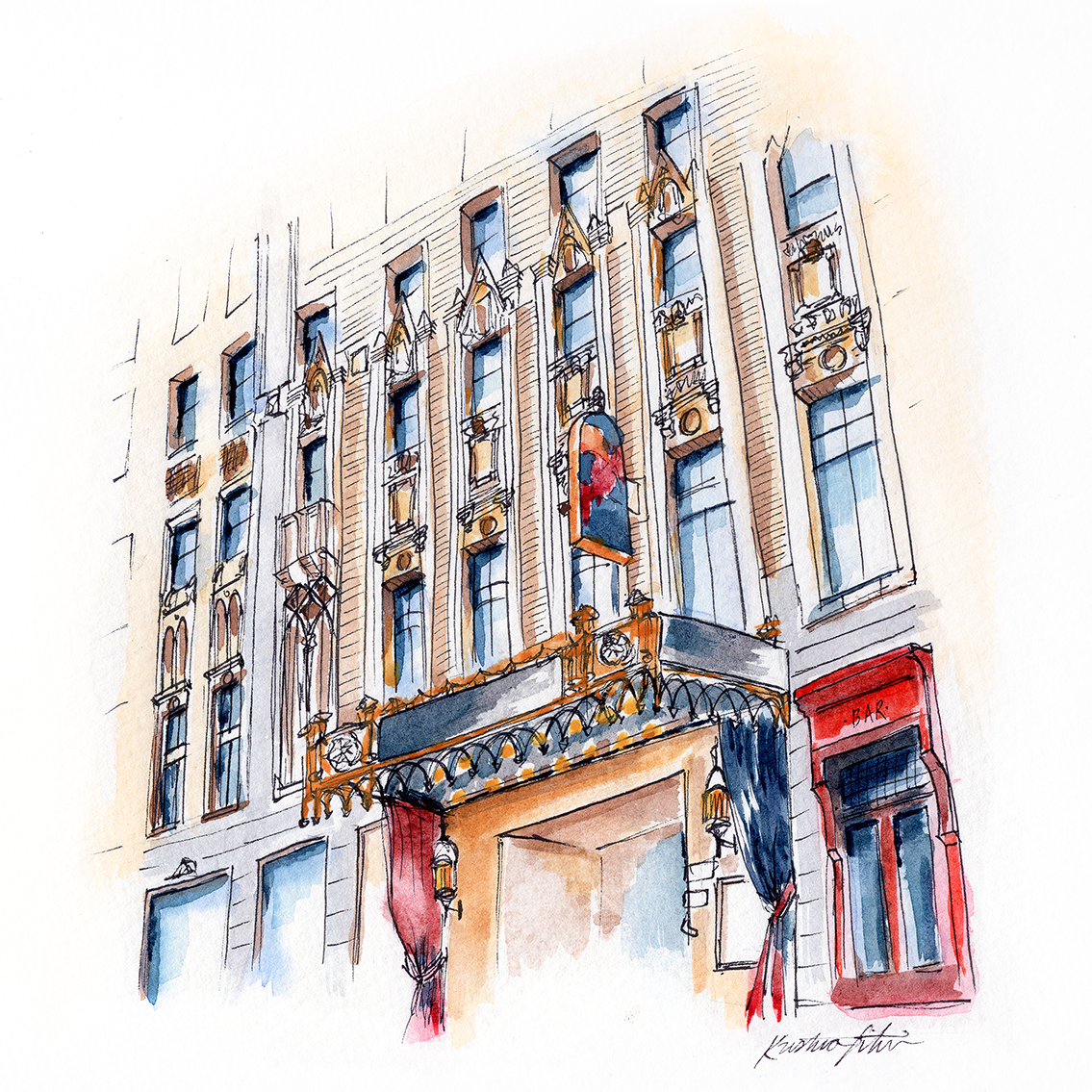 Where old world charm meets luxury. - TRAVEL | SAN FRANCISCO, USAStep inside the Sir Francis Drake Hotel where the old world charm never goes out of style. Painted for the Kimpton Hotel Collection.