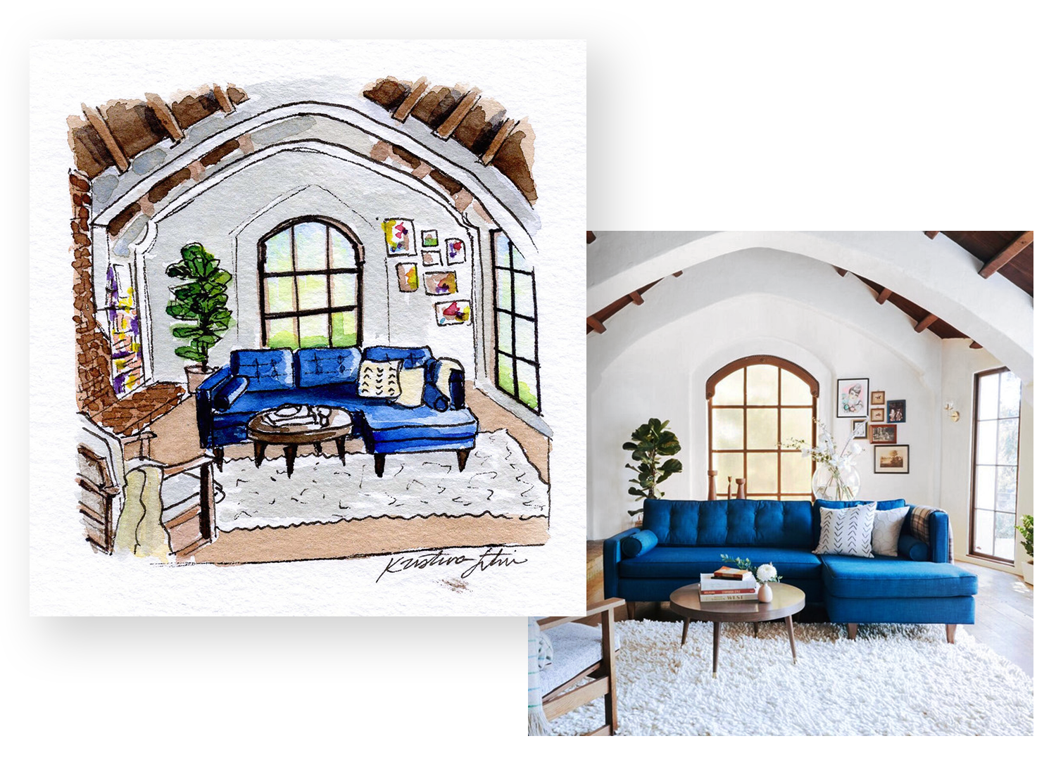 A 1920's Storybook Home - INTERIORS | LIVING ROOMA living room nestled inside a 1920's home boasting an array of charming details including, stained-glass windows, rounded walkways, latched door handles, and moments of exposed brick.