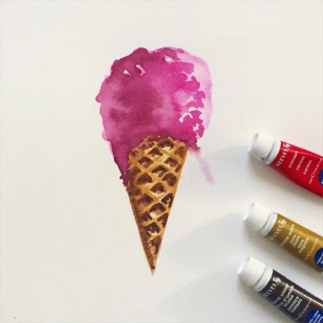 Lesson #3. I had no personal style, but style comes through play. - CASE STUDY: ICE CREAM CONEI had no idea what my style was and that was actually quite liberating. I would follow other artists and try out their style, seeing how I could spin it to be my own. Some days, I tried freehand painting where I had no plan (like this one). Other days, as in the lesson before, I'd meticulously sketch and outline the subject before I started painting. It was, in itself, a lesson in self discovery. I had to confront how uncomfortable I felt with the medium and learn from it. That's why this remains one of my favorite pieces to this day. I can see elements play in the ice cream color, braveness in not having outlined it, and training in how I approach the contrast of the waffle cone. As jovial as it is, this piece was a big turning point.