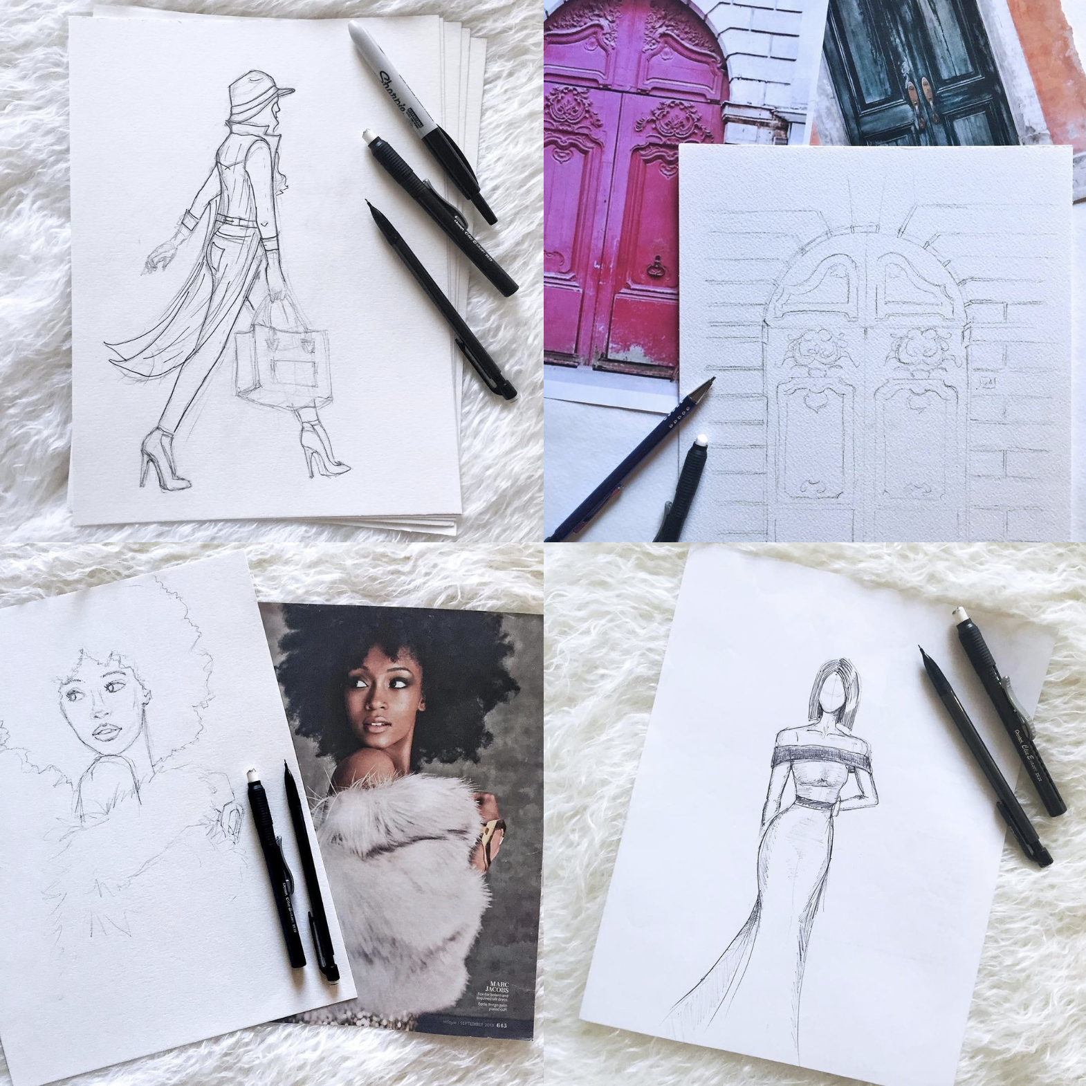 Lesson #2. I sought comfort in overly planning each piece. - CASE STUDY: ALL THE PIECES WITH OBSESSIVE PENCIL SKETCHINGMy inexperience meant I needed a crutch to help me break through the blank page that was staring back at me. In my case, it was pre-planning everything to the exact stroke, which is not surprising in hindsight knowing my personality. But this too is okay, because I was in study mode (actually artists are always in study mode), trying to understand the curves, contrasts, shadows, and proportions of the pieces I was working on. It forced to to slow down and focus on how details formed a bigger picture, and notice patterns that would soon become muscle memory.
