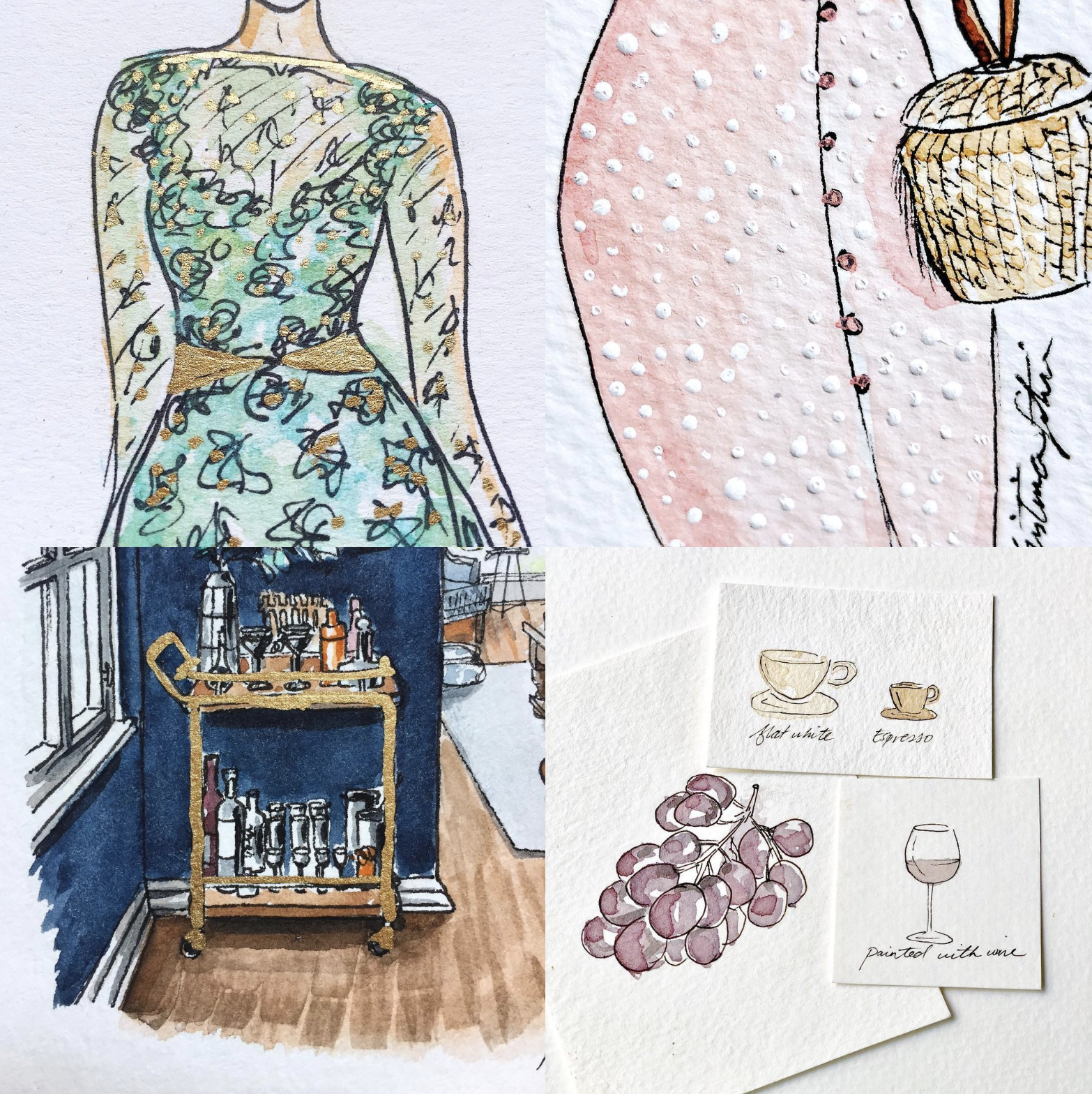 Lesson # 5. Play outside the Watercolors. - Once I started getting comfortable with the basics, I began expanding into more playful territories, like using a gold leafing pen to mimic brass accents on a bar cart or a dress, using white ink to create dots, or even painting with actual wine and espresso (bottom right), just to see what it would look like (surprisingly diluted, it turns out.) The point is, play play play!