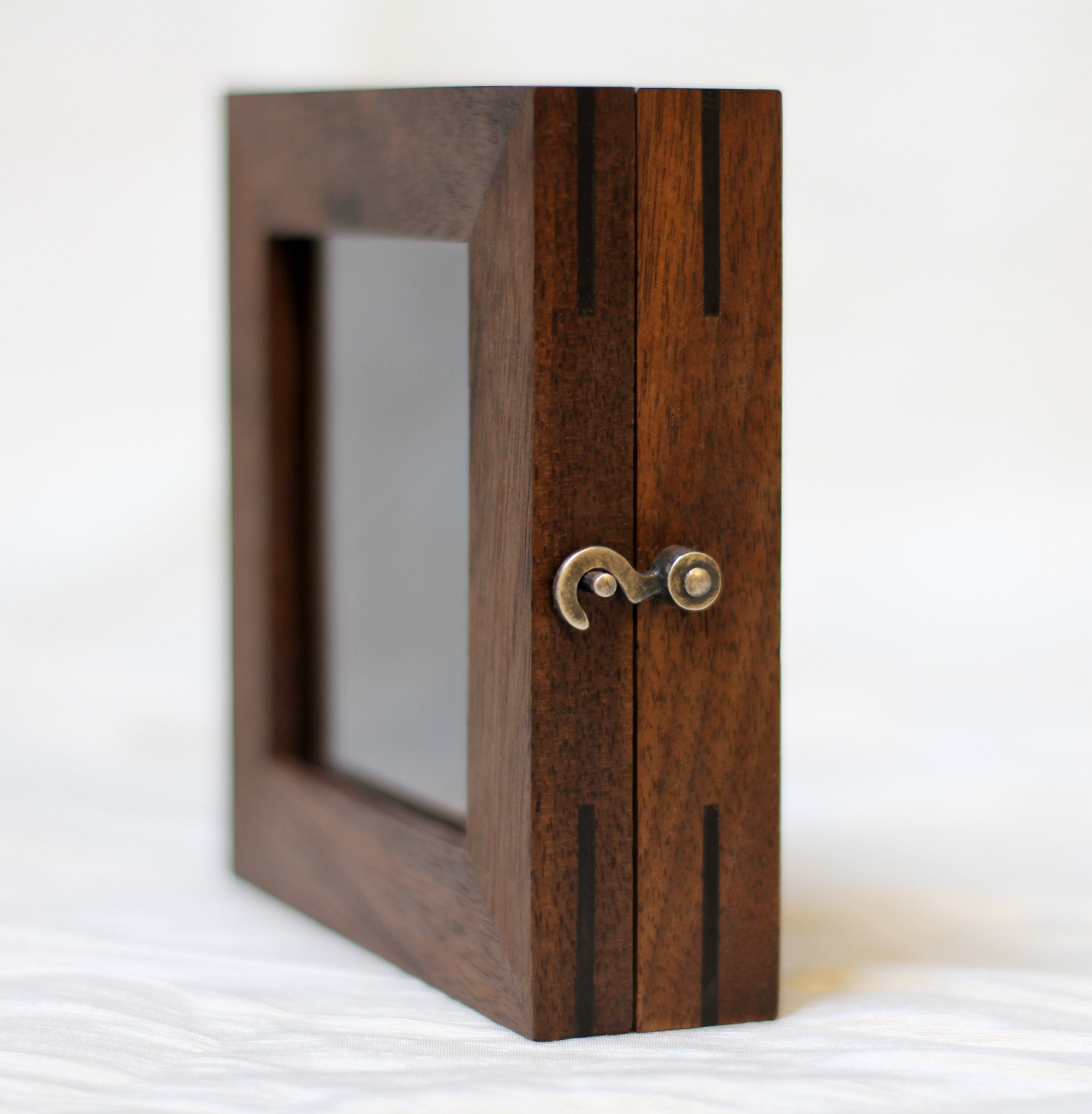 WALNUT JEWELRY BOX,  2011. Walnut, ebony, silver latch, steel hinges.
