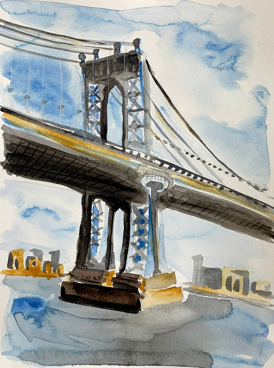 MANHATTAN BRIDGE , 2018. Watercolor, pen.
