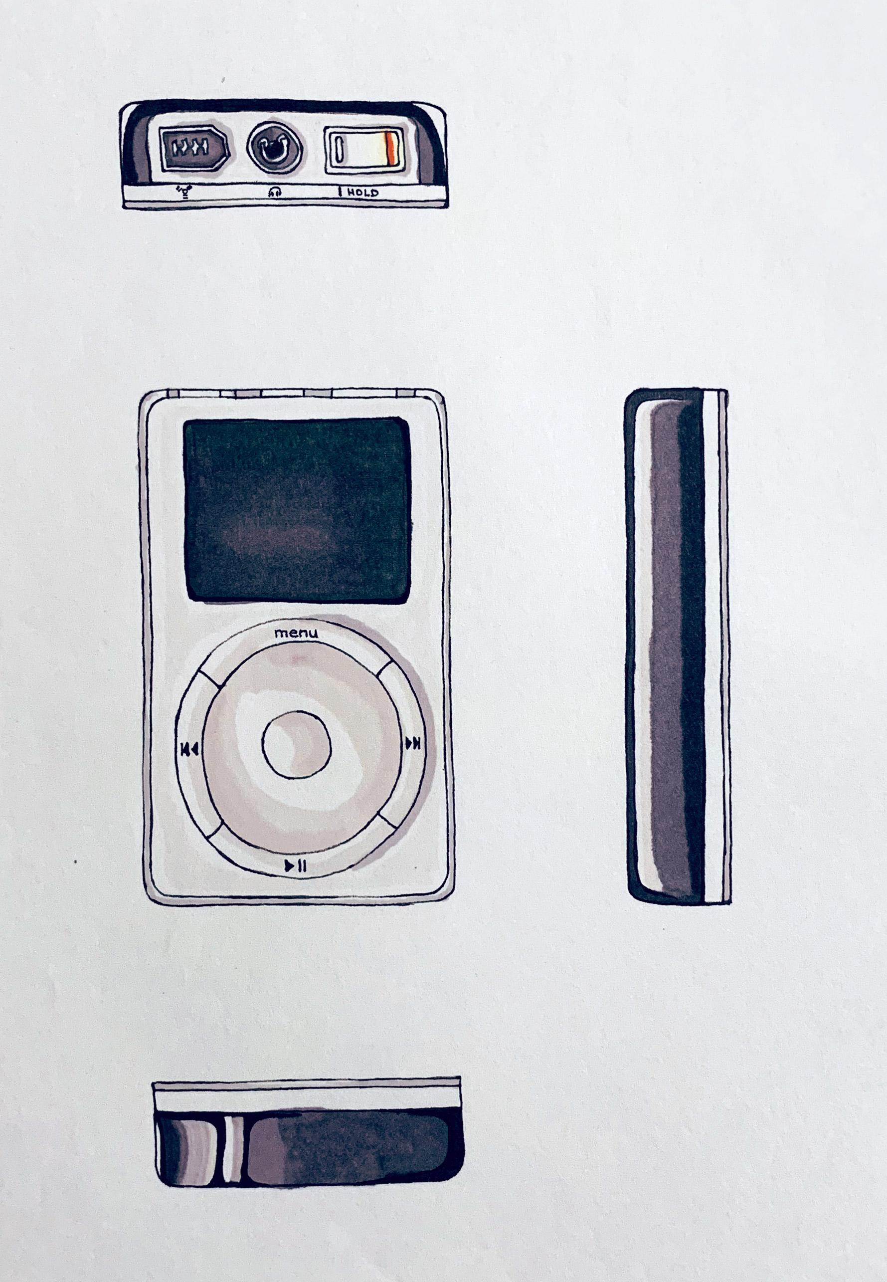 iPOD STUDY , 2004. Marker, pen.