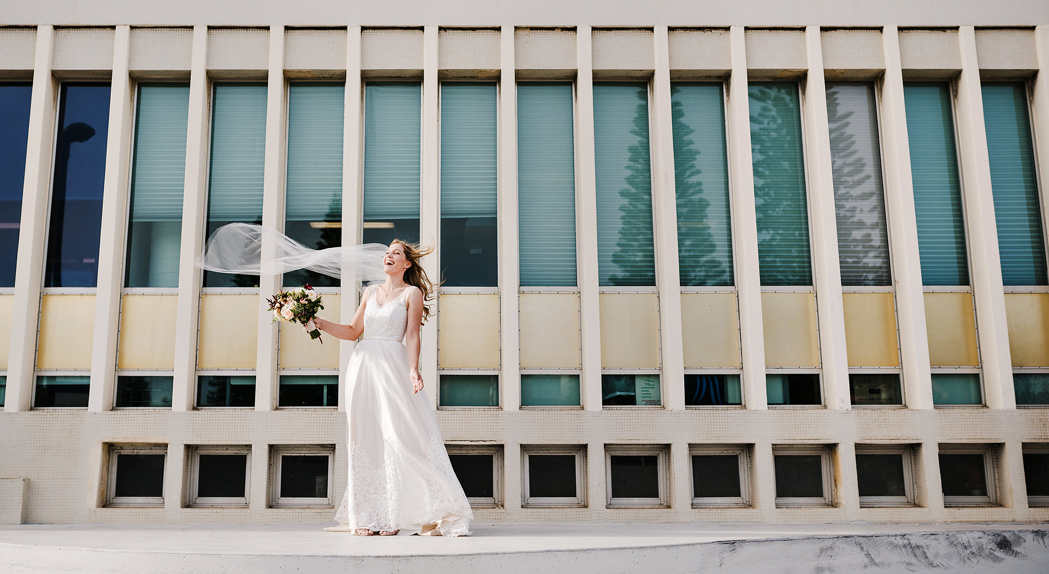 17 Bride veil flowing in the breeze architecture perth wedding.JPG