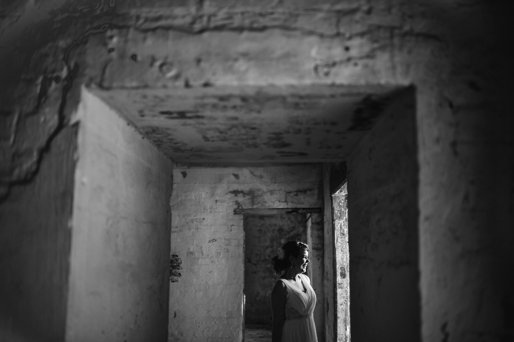22 Auckland Devonport wedding Bride in tunnel moody .JPG