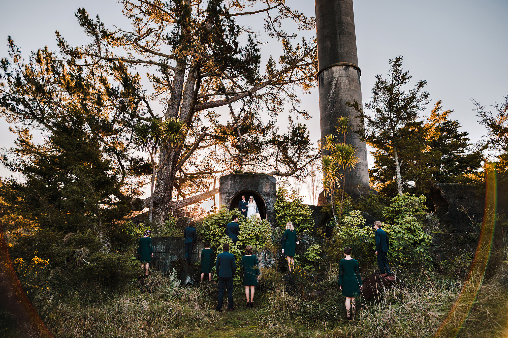 54 auckland wedding industrial ruins structures bridal party.JPG