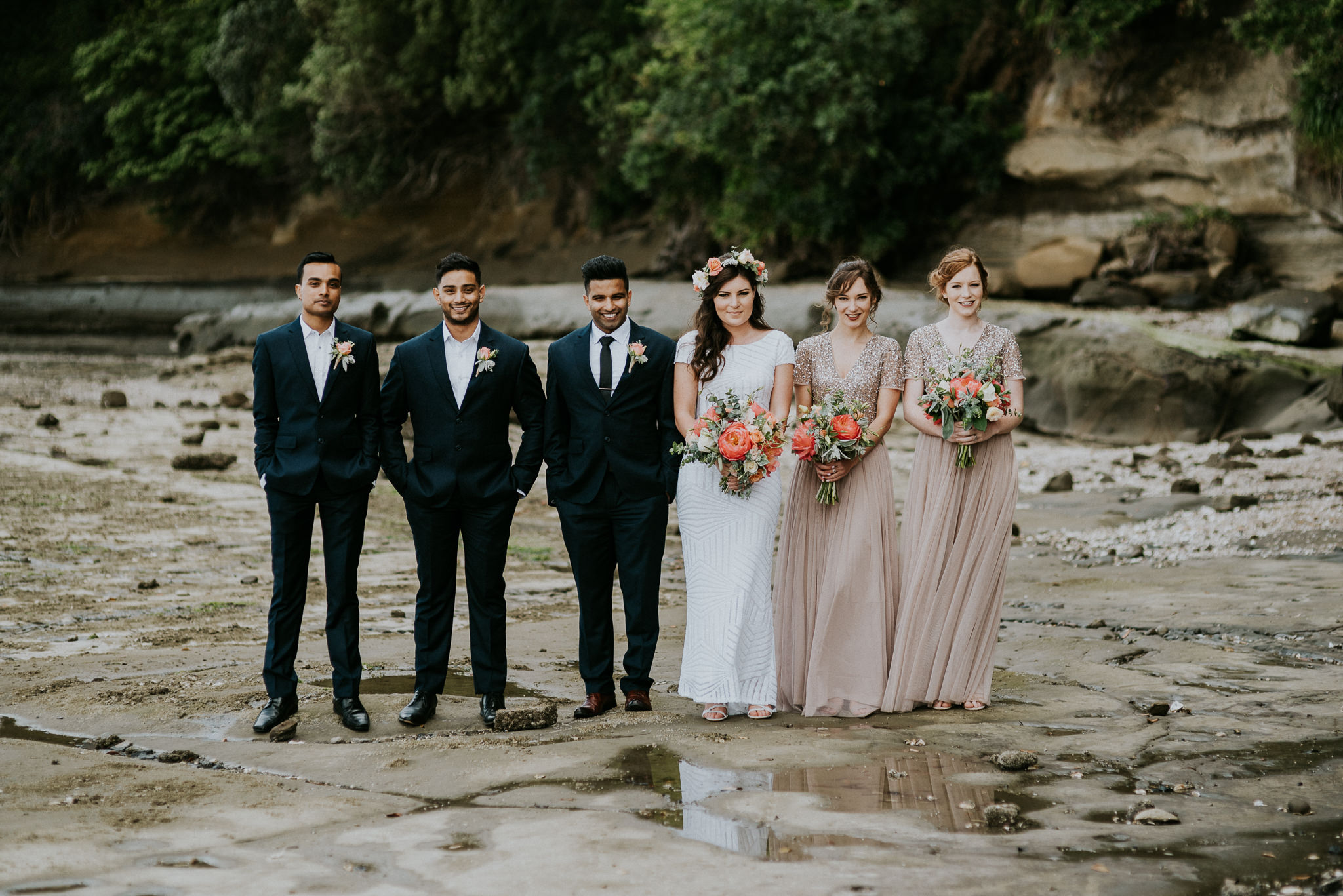 Bridal Party Photo at French Bay Yacht Club Titirangi