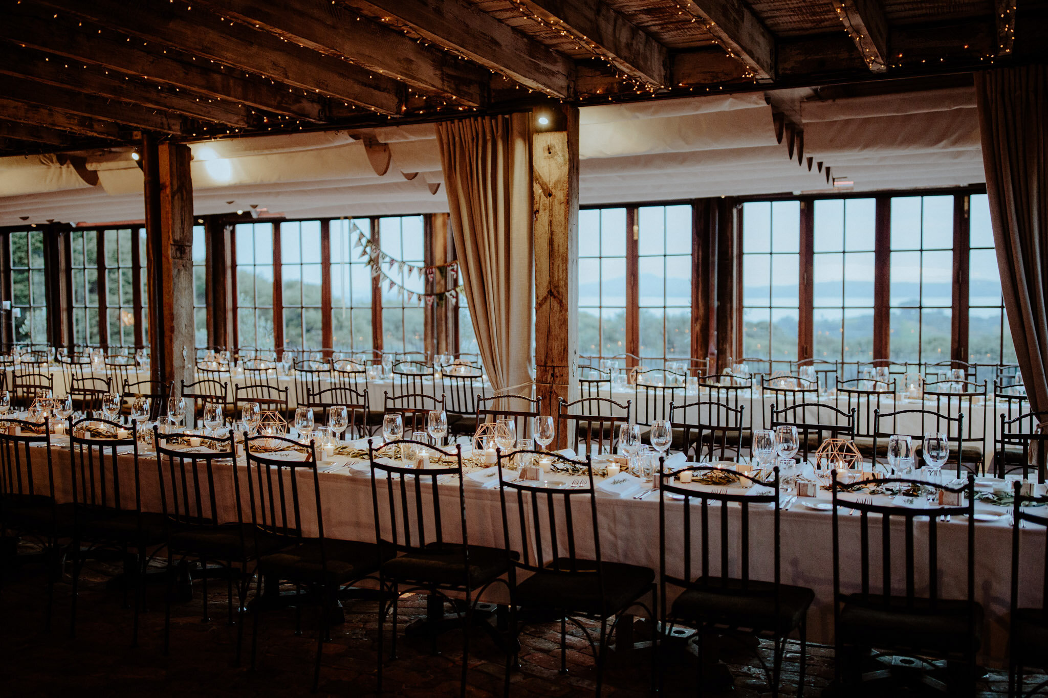 Long tables reception setup at Mudbrick