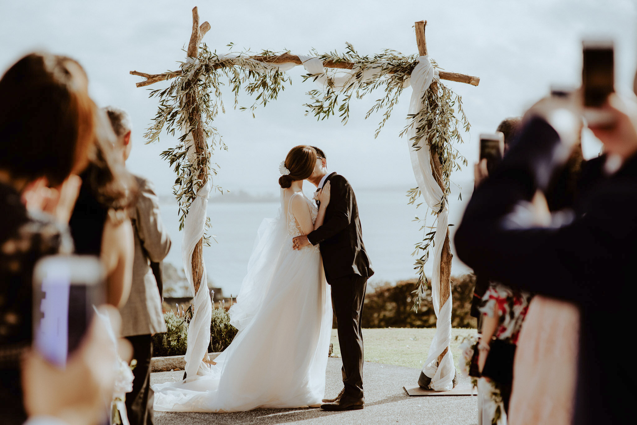 Wooden Ceremony Arch olive branches at Mudbrick
