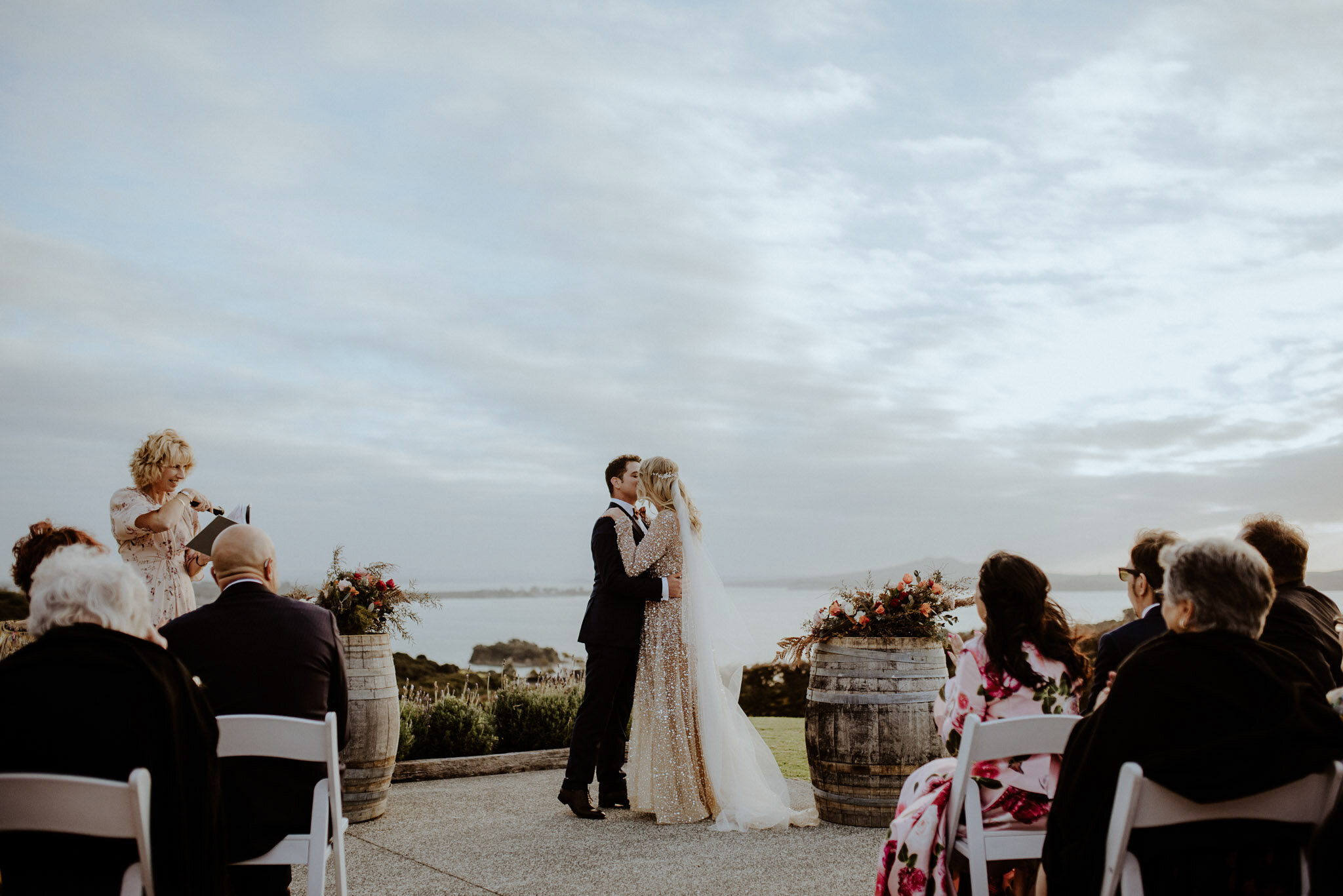 Minimalist outdoor ceremony at sunset at Mudbrick