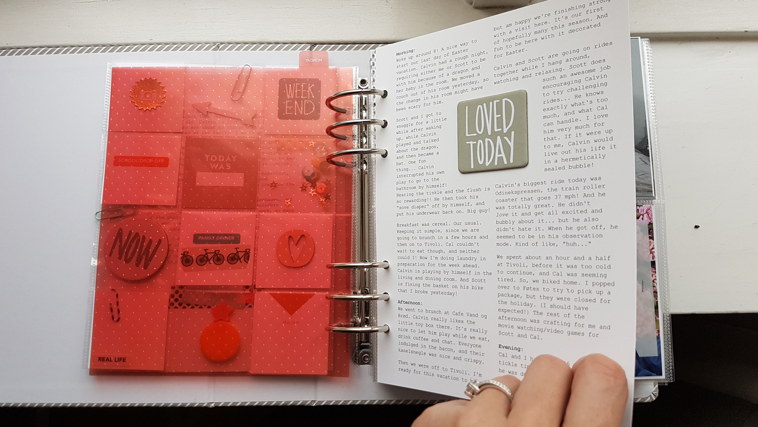 Journaling edited and formatted in Word, printed on cardstock, glued back to back and inserted directly into album.