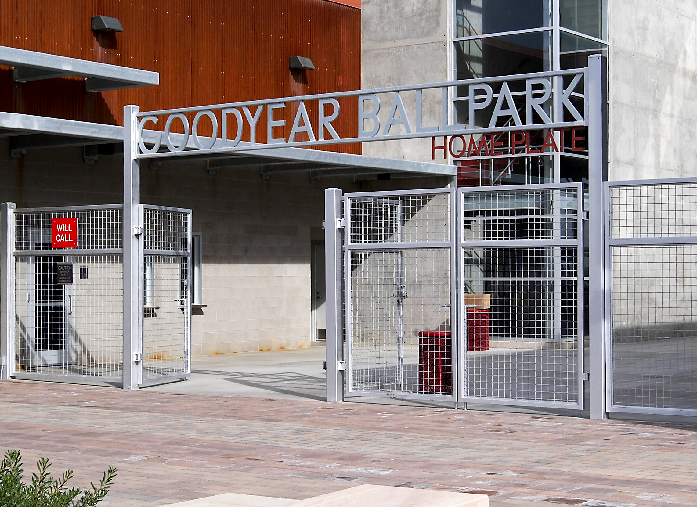 "A gate at the Goodyear Ballpark is constructed of 1"" thick galvanized aluminum plate."