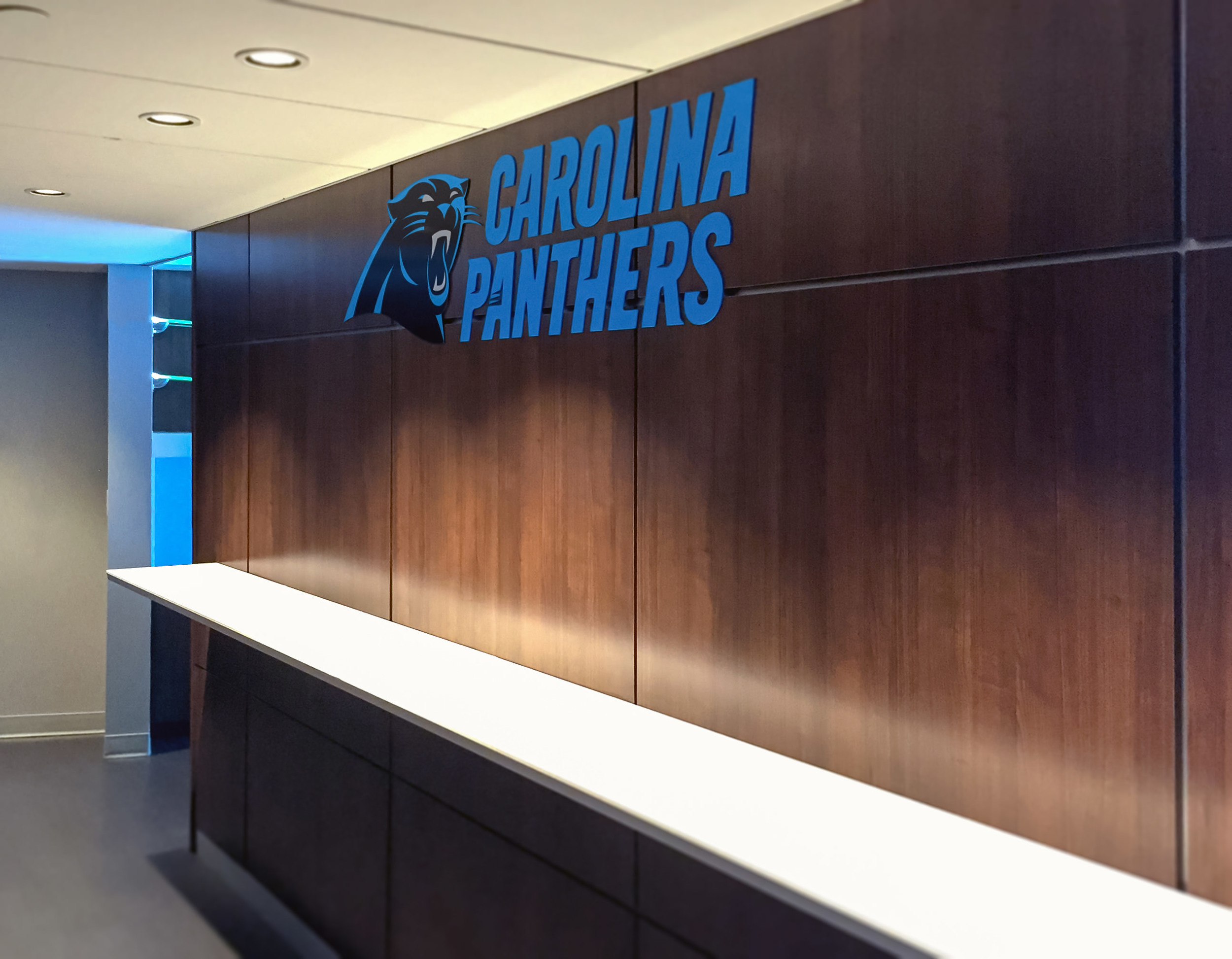 The Carolina Panthers logo is fabricated of aluminum and painted per the Team's colors.