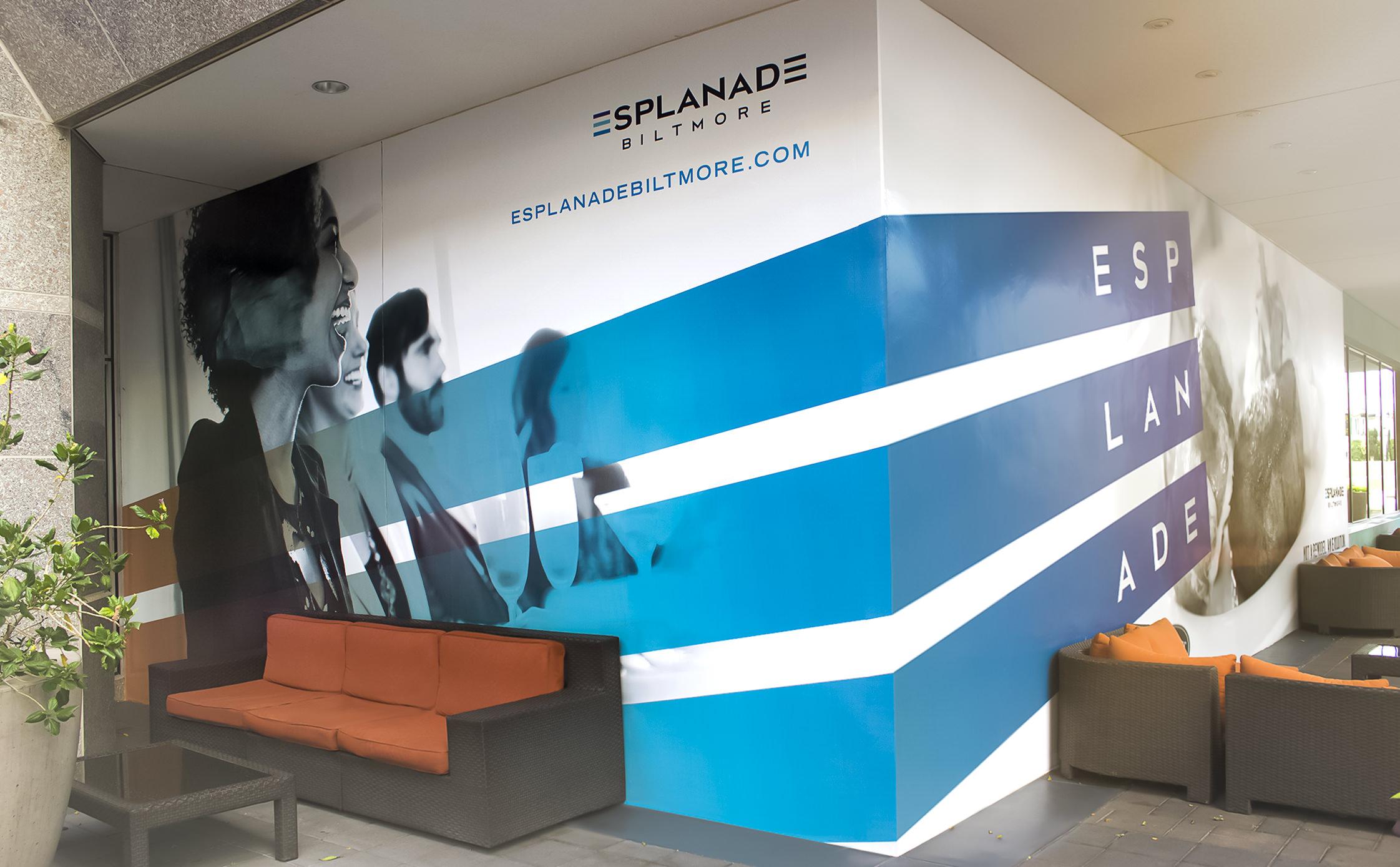Full color, large format digital graphics wrap the retail corner.
