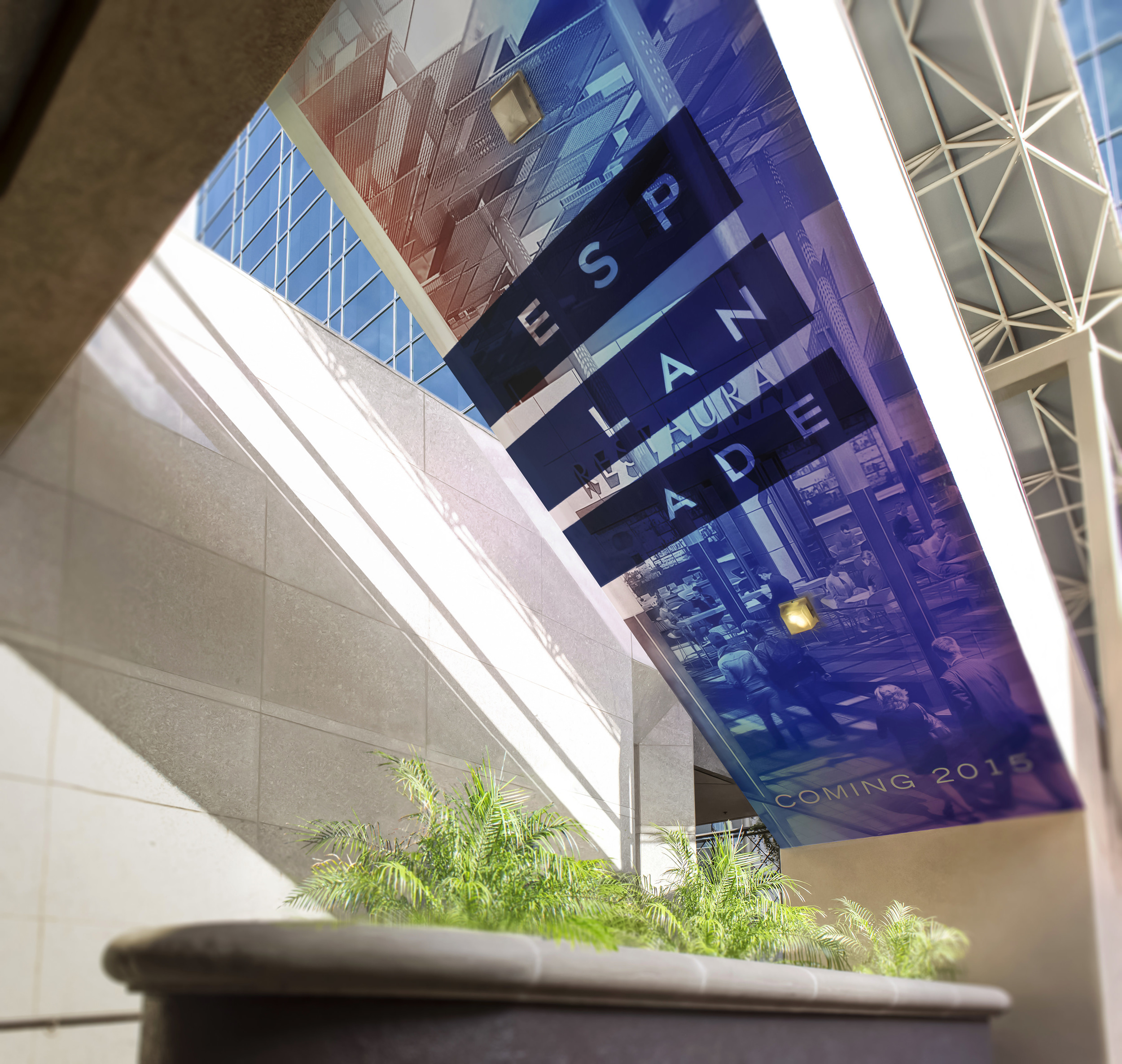 The underside of the escalators are wrapped with large format digitally printed graphics.