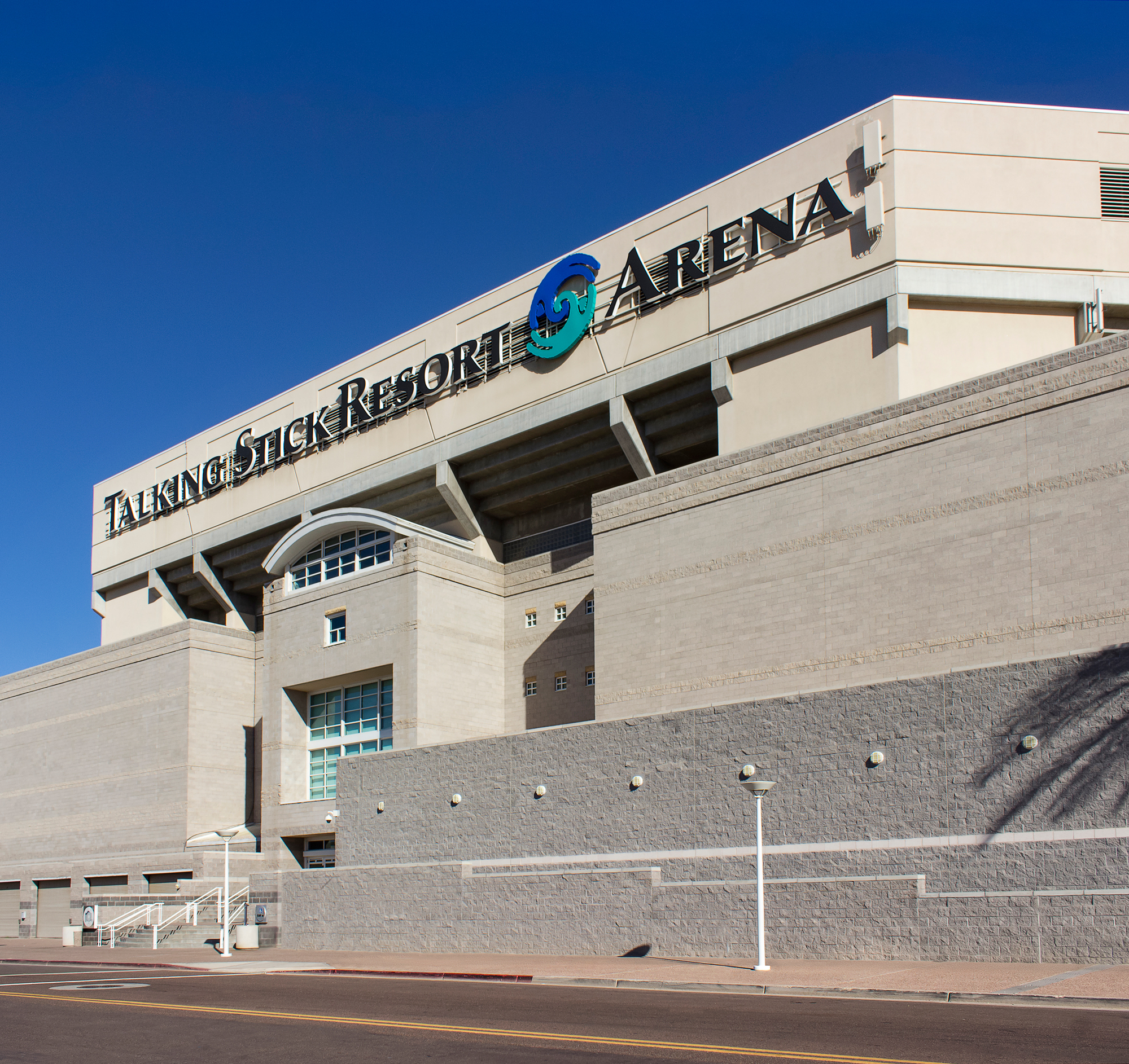 The south side of the arena is branded using the same channel letter sign as the two other entrances.