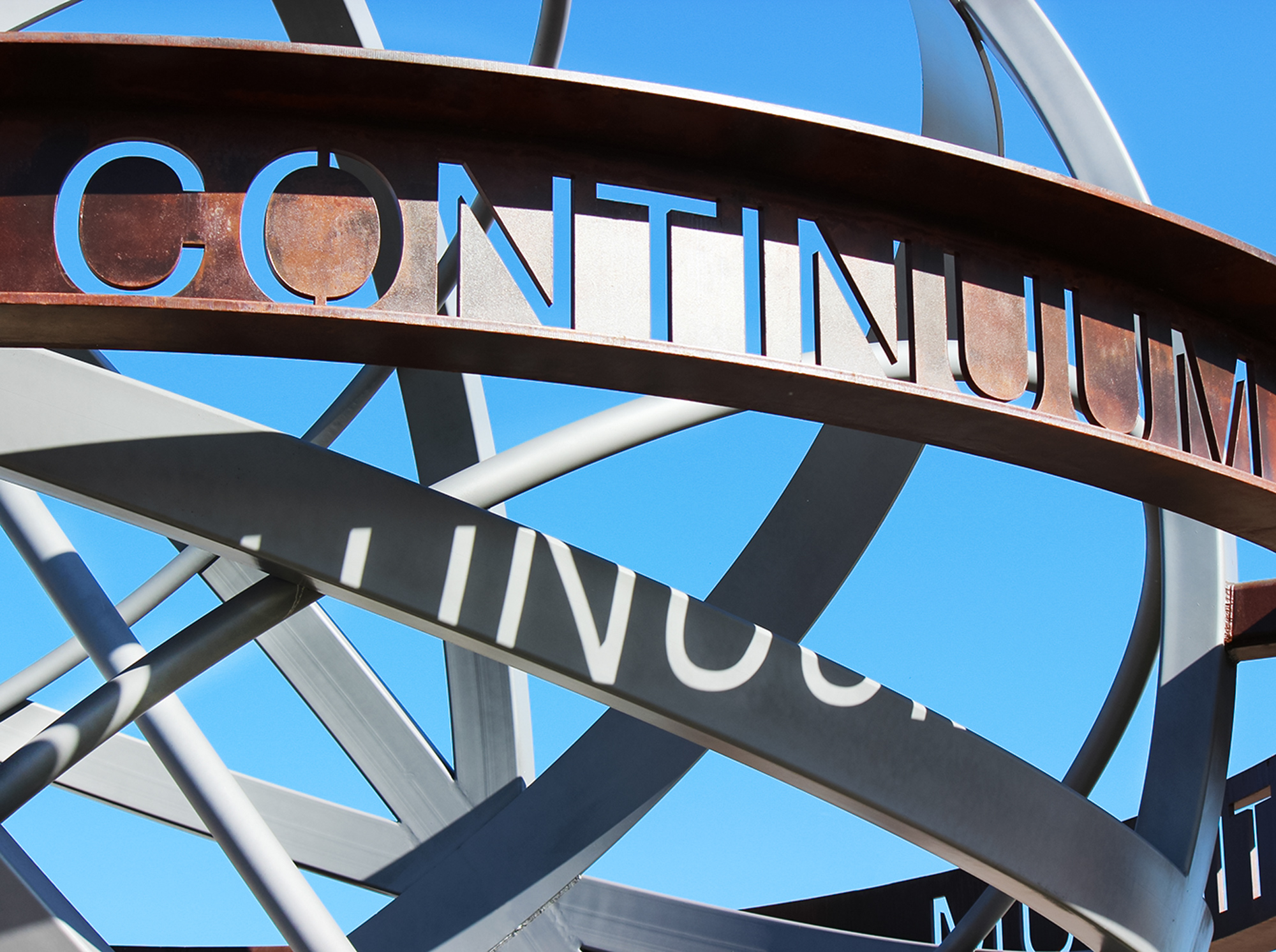 """The Continuum lettering is waterjet cut in 1"""" thick plate rolled steel."""