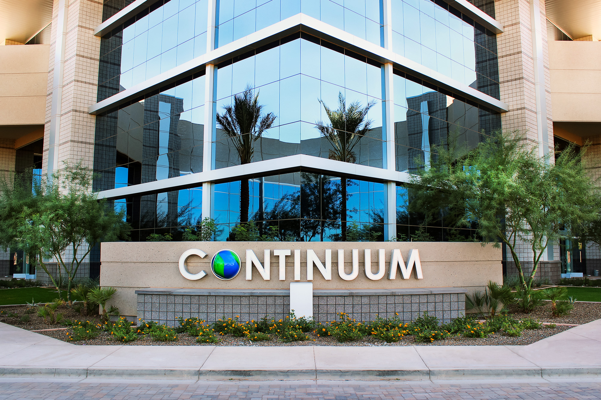 The project's largest multi-tenant building is identified with a face lit landscape wall sign.