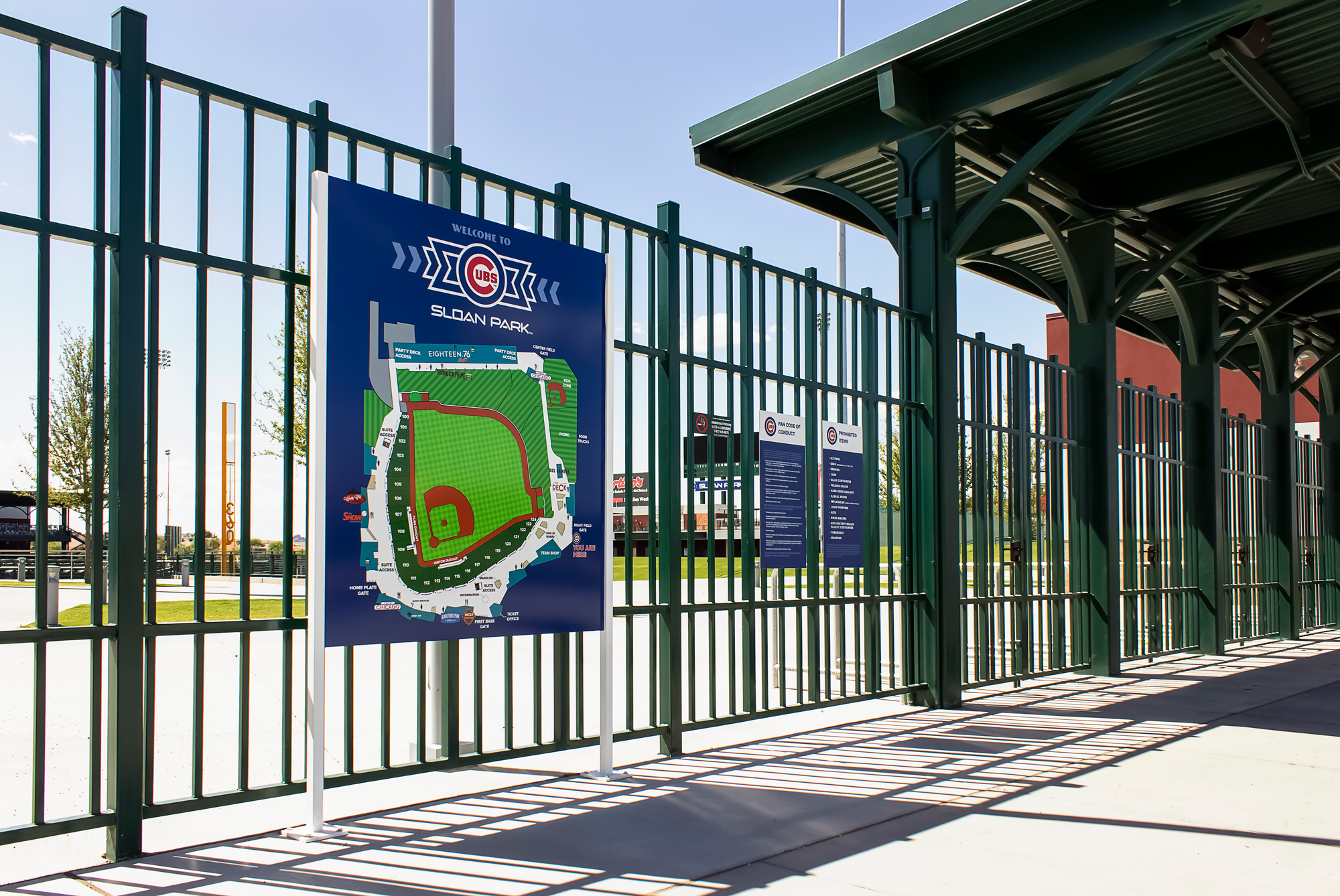 The freestanding wayfinding sign guide fans around the park. Branded wayfinding elements are a great addition to the user experience.