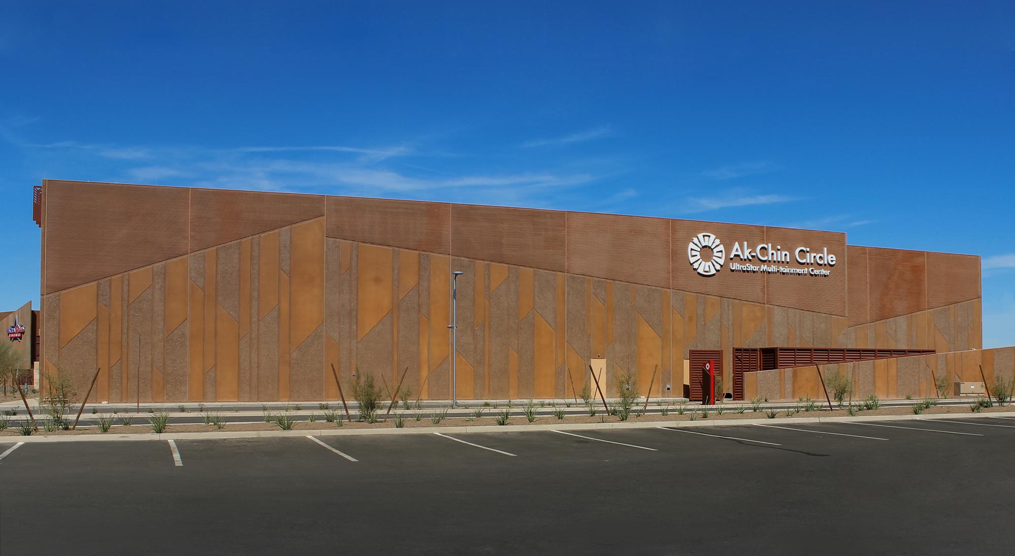 This alternate view shows the building's unique concrete architecture.