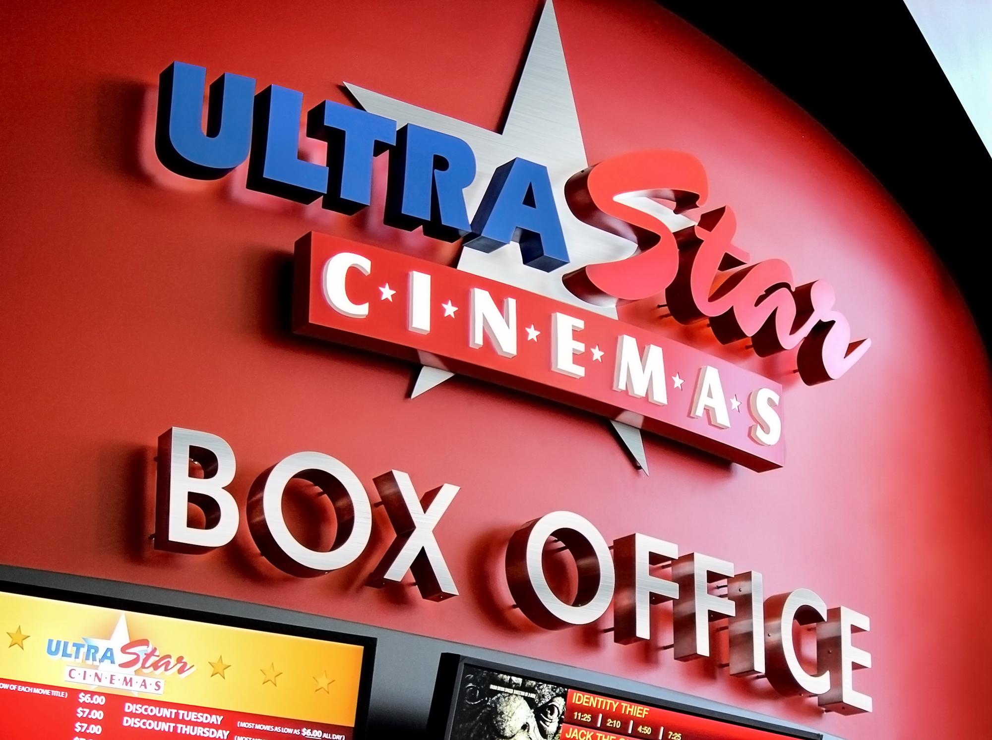 UltraStar Cinemas logo brands the box office.