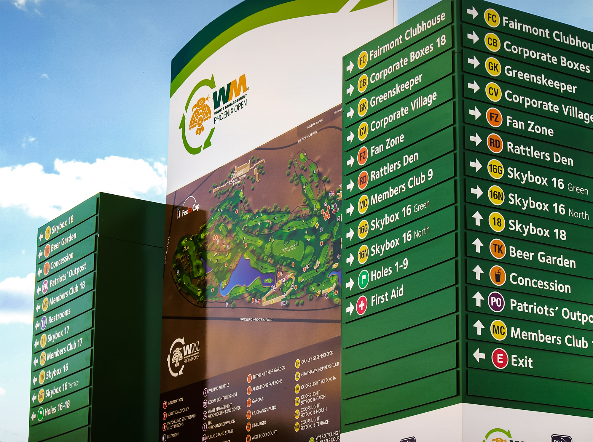 The Tournament's largest freestanding map and directional. This element provides the main wayfinding for the course and venues.
