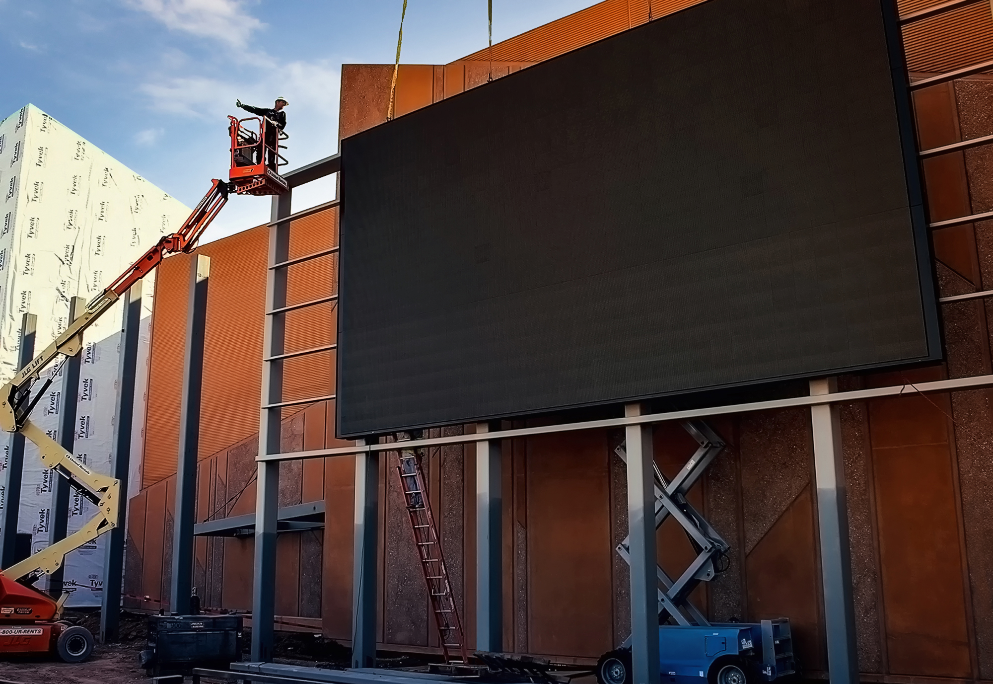 An 18' x 33' 12mm electronic message center installed to custom built steel supports.