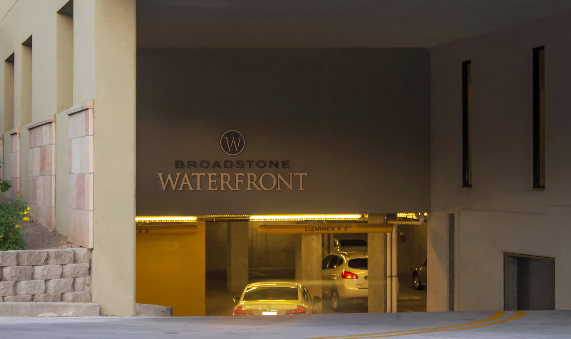 The two story parking garage is branded with flat cut out aluminum letters.Trademark designed, fabricated and installed the parking garage wayfinding package.