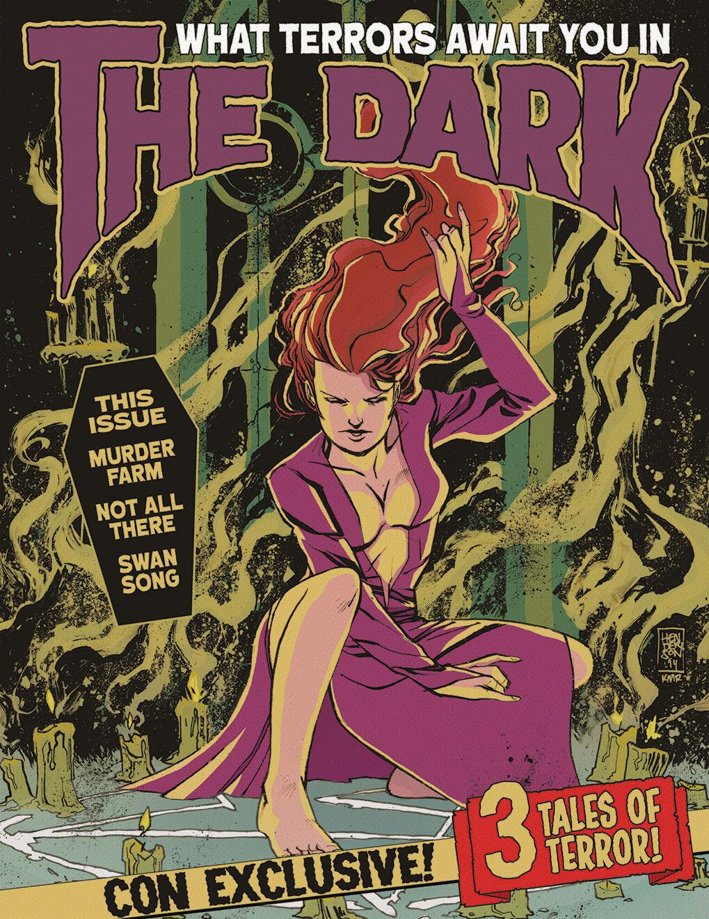This promo for IDW's In the Dark: A Horror Anthology will be limited to 50 copies at Emerald City Comic-Con 2014. 3 stories. Magazine-sized. Aged paper. Going to be awesome!  Line art by Mike Henderson  Colors by K. Michael Russell  Lettering/design by Rachel Deering