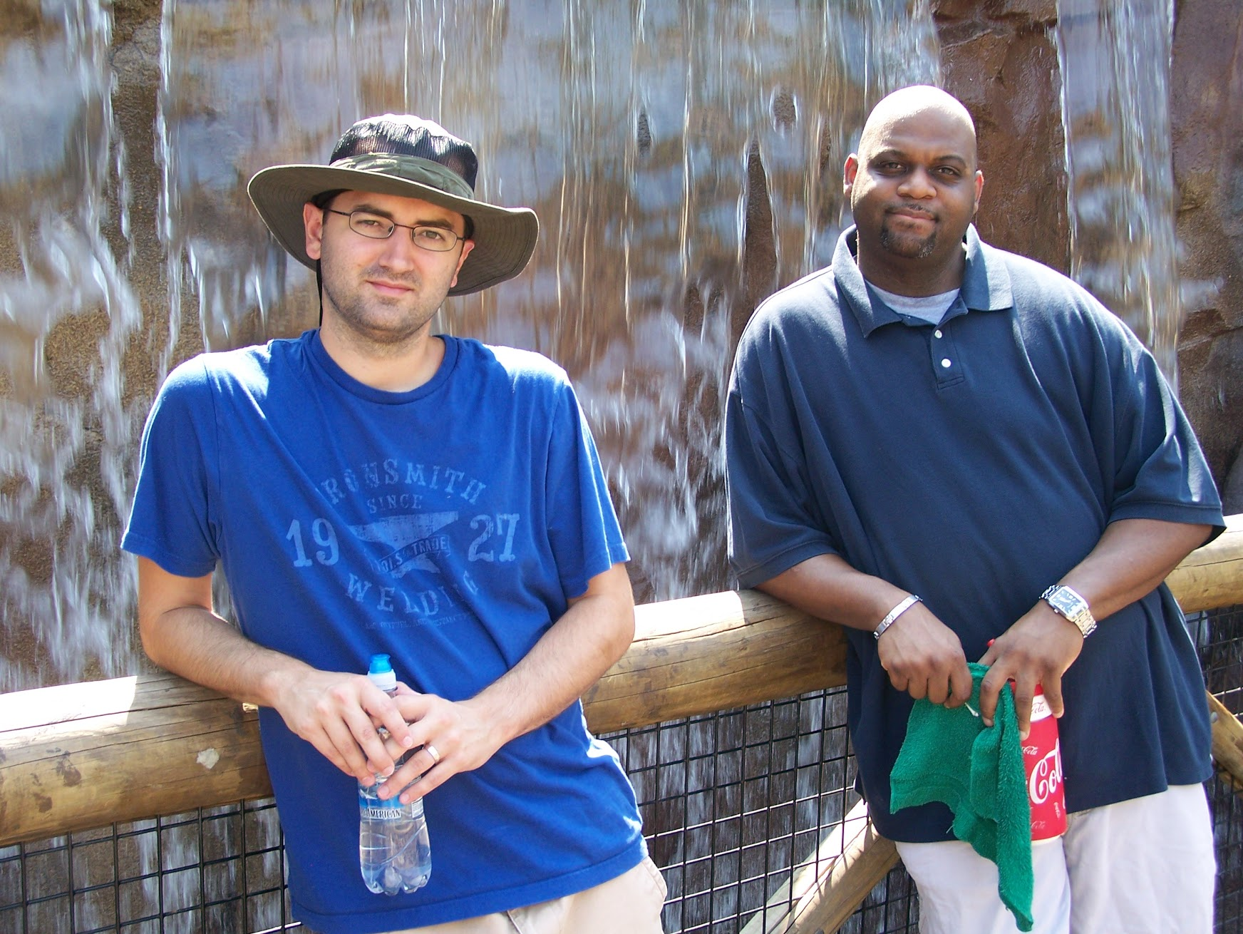 April 6, 2011 - This was at the Memphis Zoo. Last time we hung out in person. IT WAS HOT AS HELL.... which is why we both look miserable. It was actually a really fun day with he and my wife. Pre-beard for me! :)